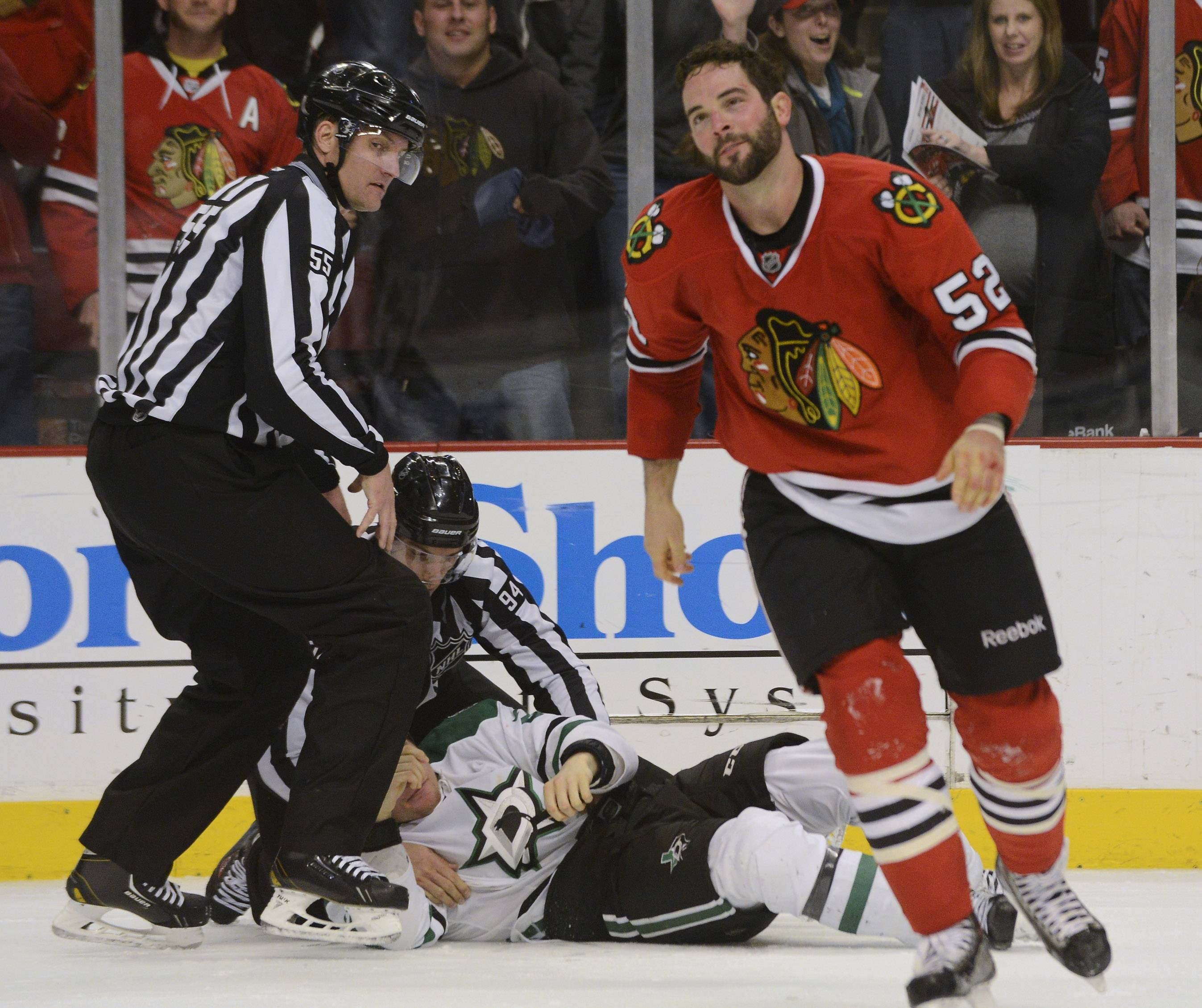 Brandon Bollig skates away after fighting Antoine Roussel of the Dallas Stars.