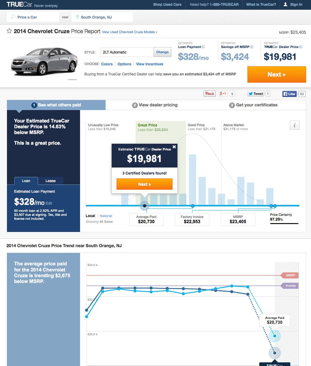 This screen shot shows a TrueCar Price Report for a 2014 Chevrolet Cruze in the South Orange, N.J. area. Auto websites _ once filled mostly with reviews and advice _ are getting more sophisticated, connecting potential buyers with dealers and offering instant price guarantees.