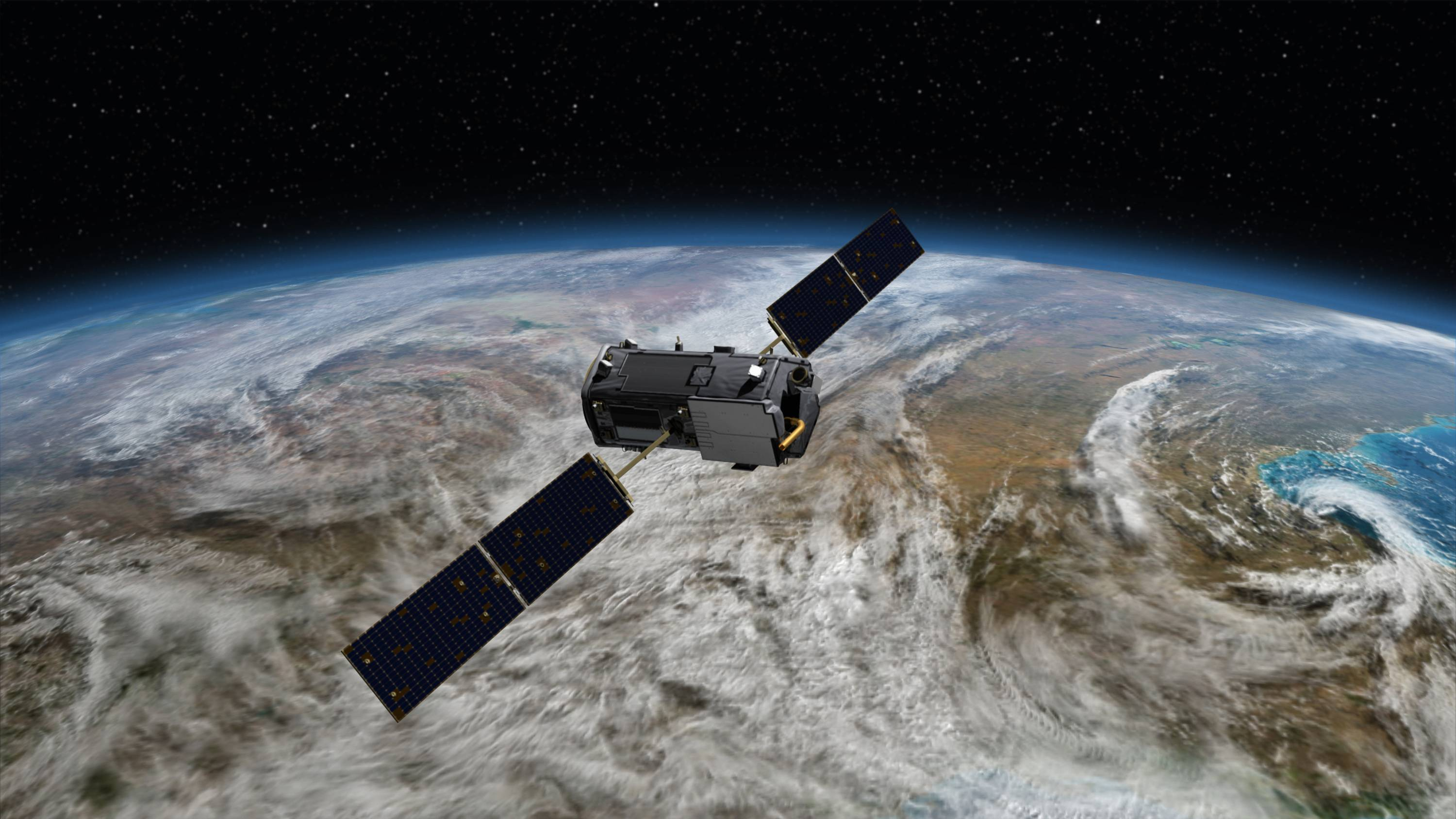 This is an artist's rendering of the Orbiting Carbon Observatory, which is scheduled to launch from Vandenberg Air Force Base, California, Tuesday.