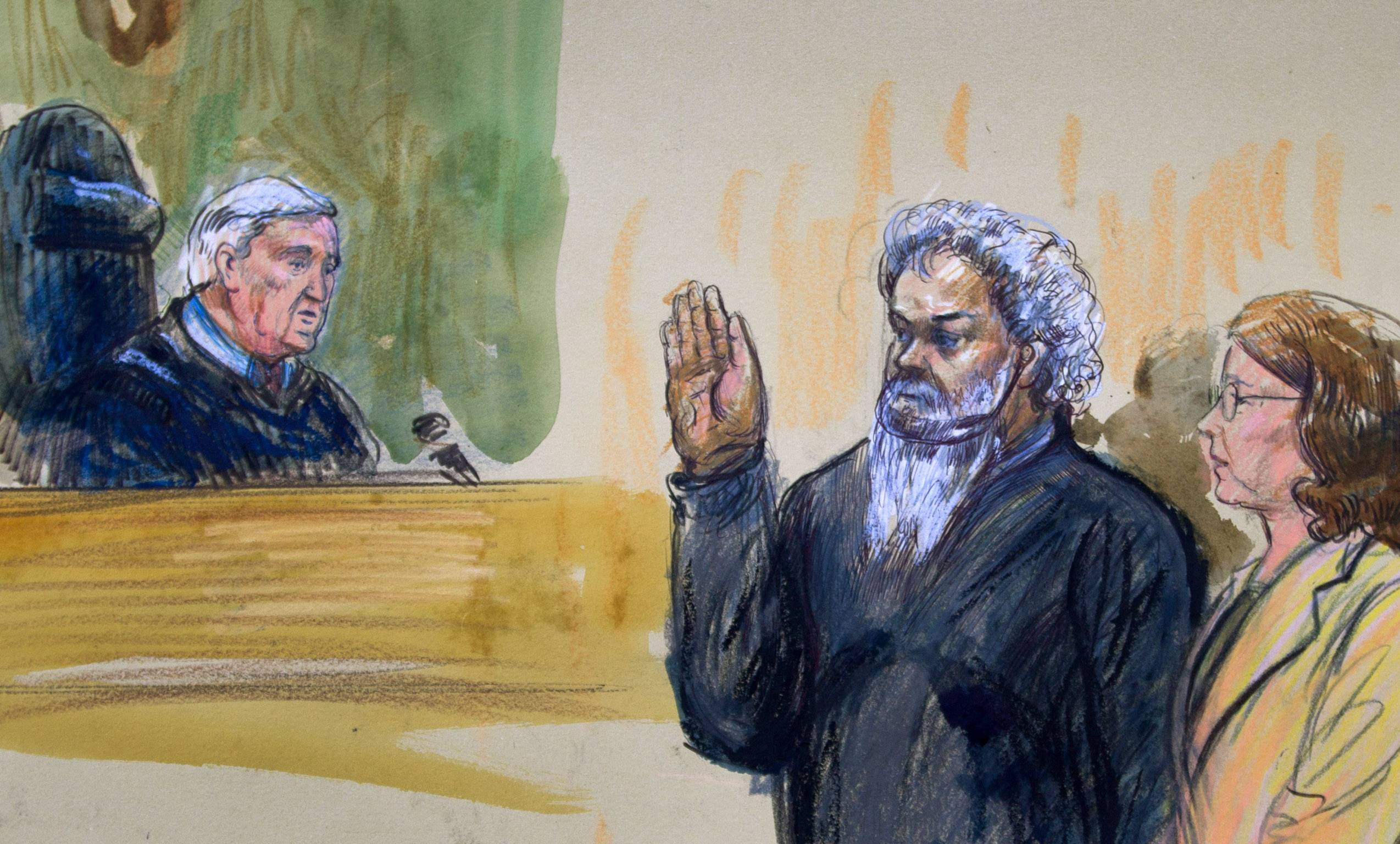 This artist's rendering shows United States Magistrate, Judge John Facciola, swearing in the defendant, Libyan militant Ahmed Abu Khatallah, wearing a headphone, as his attorney Michelle Peterson looks on during a hearing at the federal U.S. District Court in Washington Saturday. The hearing of the Libyan accused of masterminding deadly Benghazi attacks, lasted ten minutes; he pleaded not guilty to conspiracy.