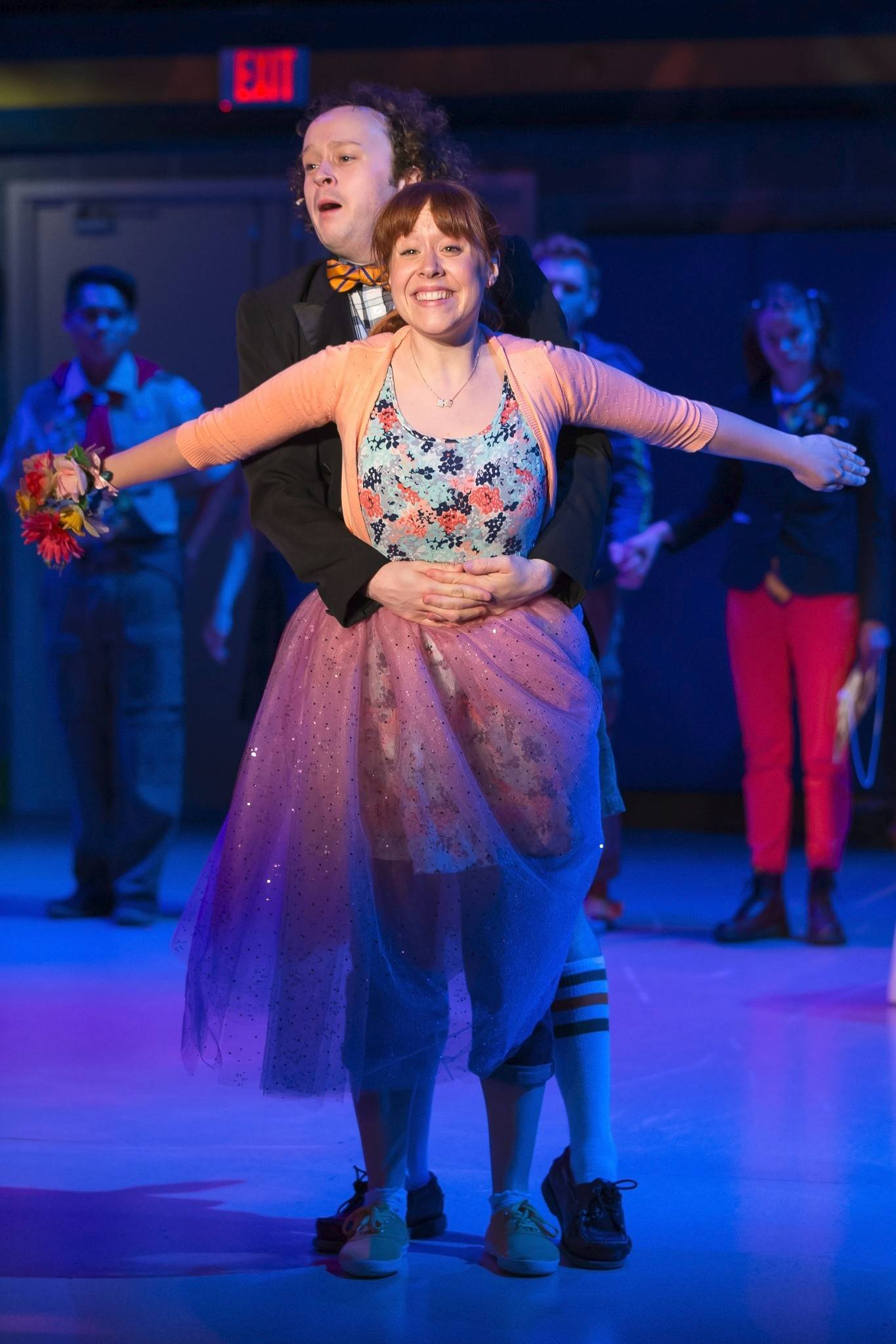 "William Barfée (Eli Branson) and Olive Ostrovsky (Landree Fleming) share a fantasy dance duet in the Tony Award-winning 2005 musical ""The 25th Annual Putnam County Spelling Bee"" at Drury Lane Theatre in Oakbrook Terrace."