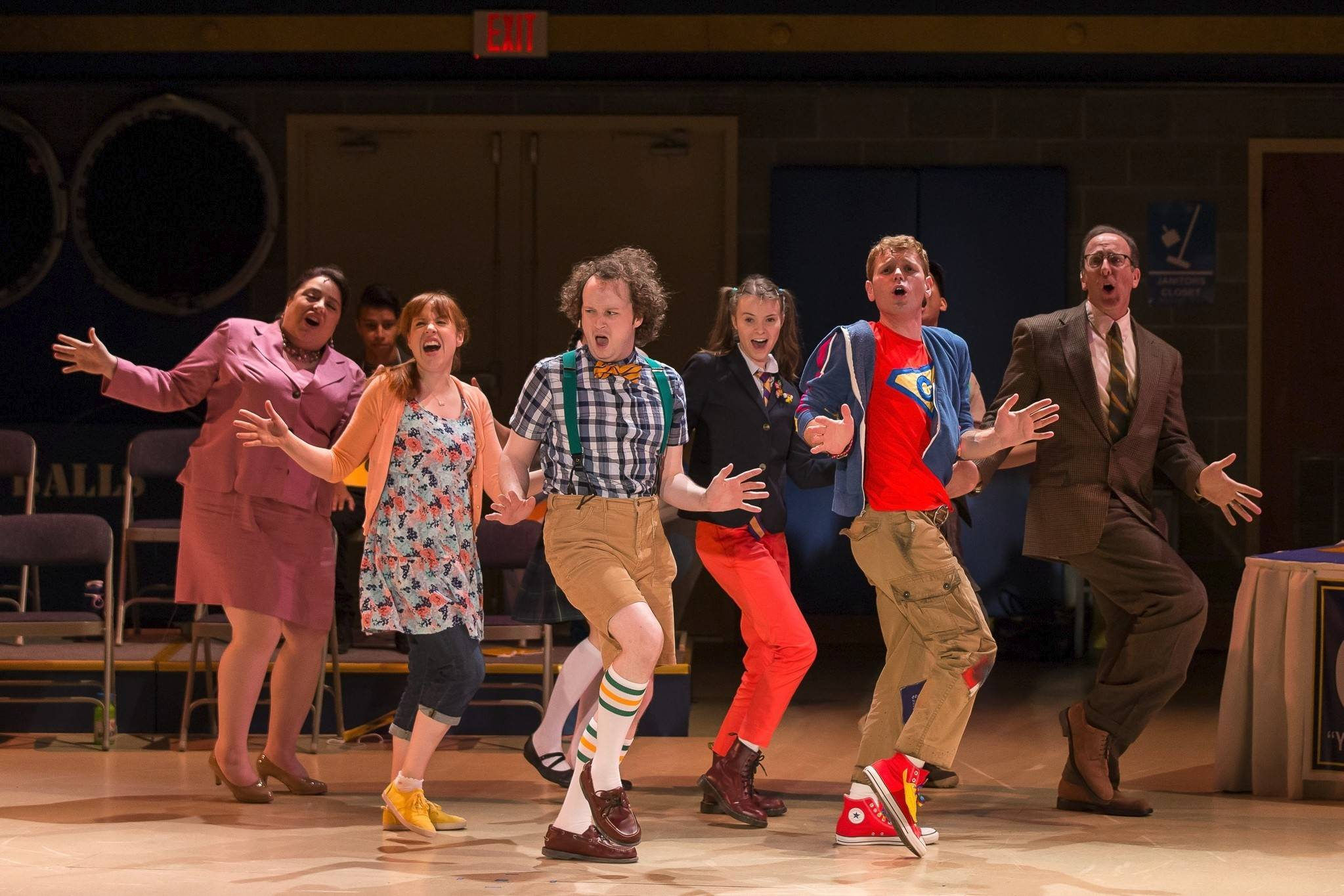 "William Barfée (Eli Branson, center) leads the cast in a song about his magic spelling foot in ""The 25th Annual Putnam County Spelling Bee"" at Drury Lane Theatre in Oakbrook Terrace."