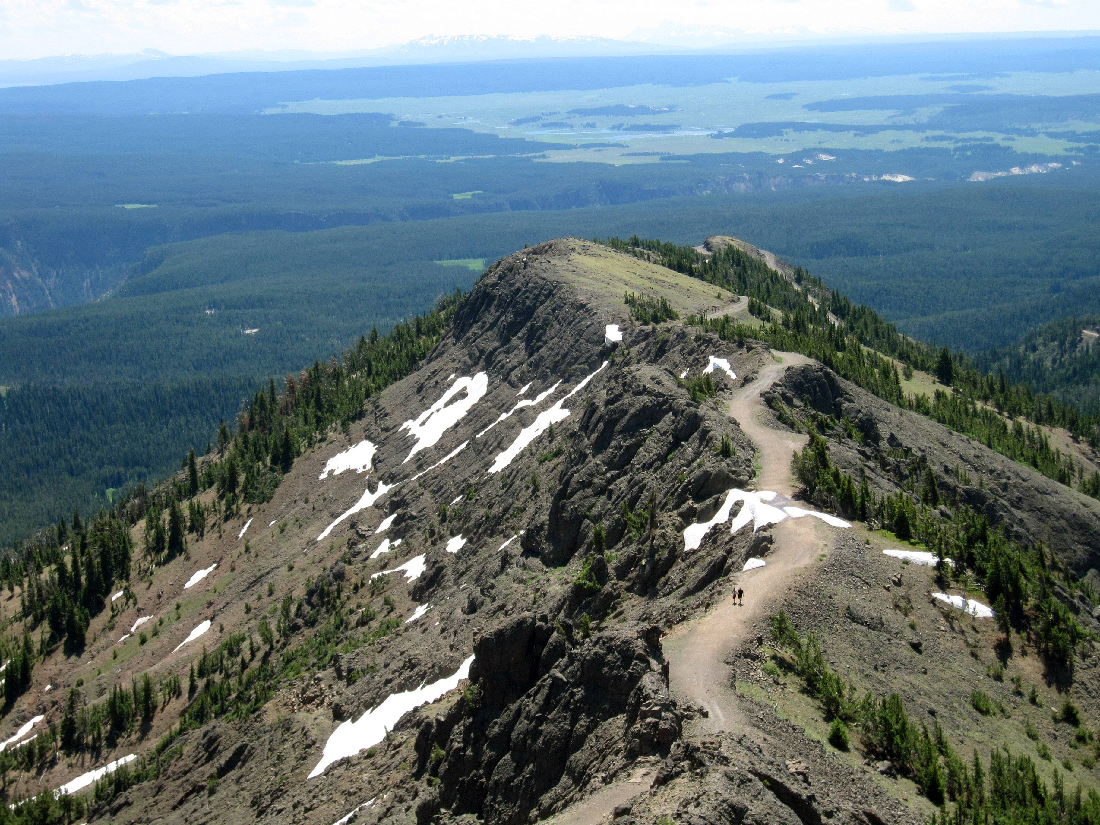 The trail to the top of Mount Washburn in Yellowstone National Park takes hikers 1,400 feet to an elevation of 10,243 feet.