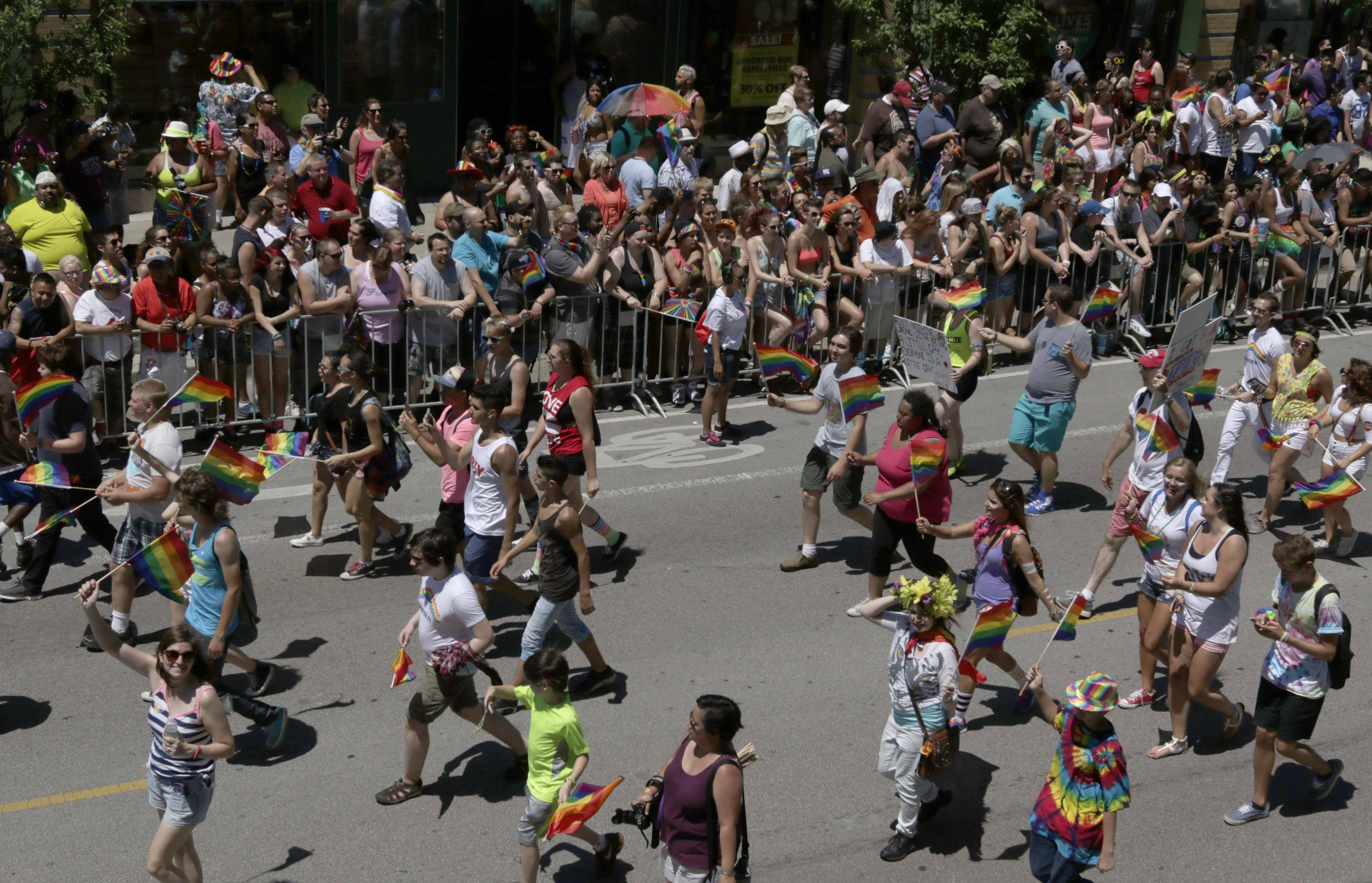 The crowd cheers as the parade moves down Broadway Street during the Gay Pride Parade on Sunday, June 29, 2014 in Chicago. As many as 1 million people were expected to pack Chicago streets Sunday for the first Gay Pride Parade since Illinois legalized gay marriage last month.