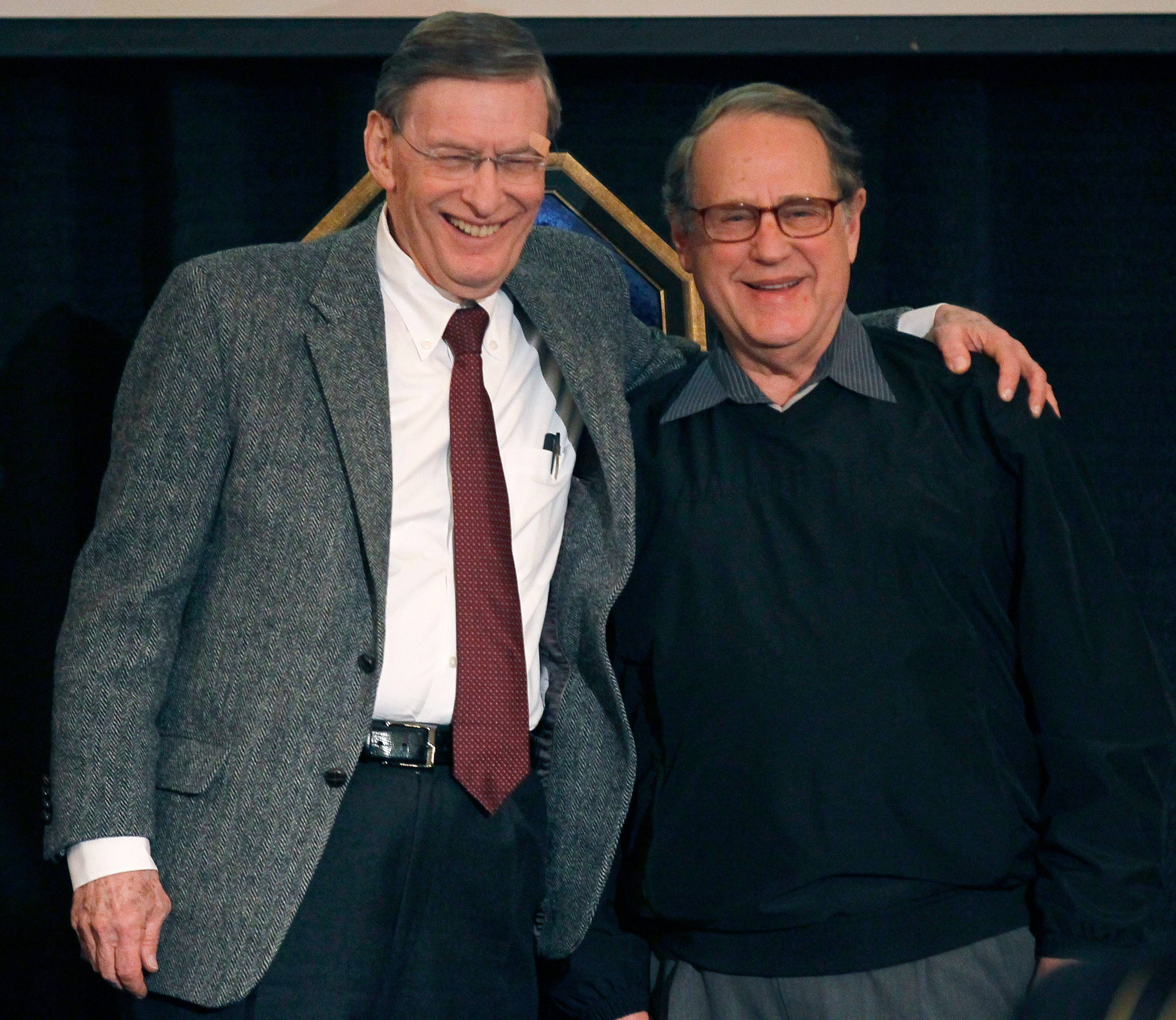 Baseball Commissioner Bud Selig, left, embraces Chicago White Sox chairman Jerry Reinsdorf during the White Sox baseball fan festival on Friday, Jan. 27, 2012, in Chicago.