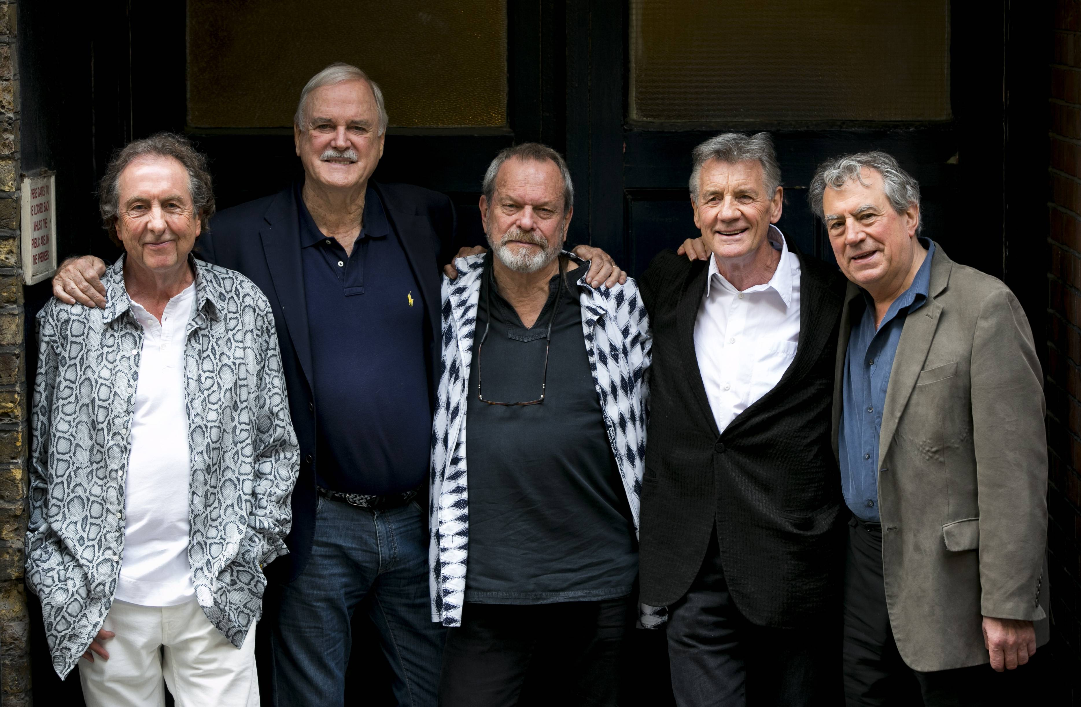 Eric Idle, left, John Cleese, Terry Gilliam, Michael Palin and Terry Jones of the comedy group Monty Python are ready for their 10 reunion shows at London's O2 Arena starting Tuesday.