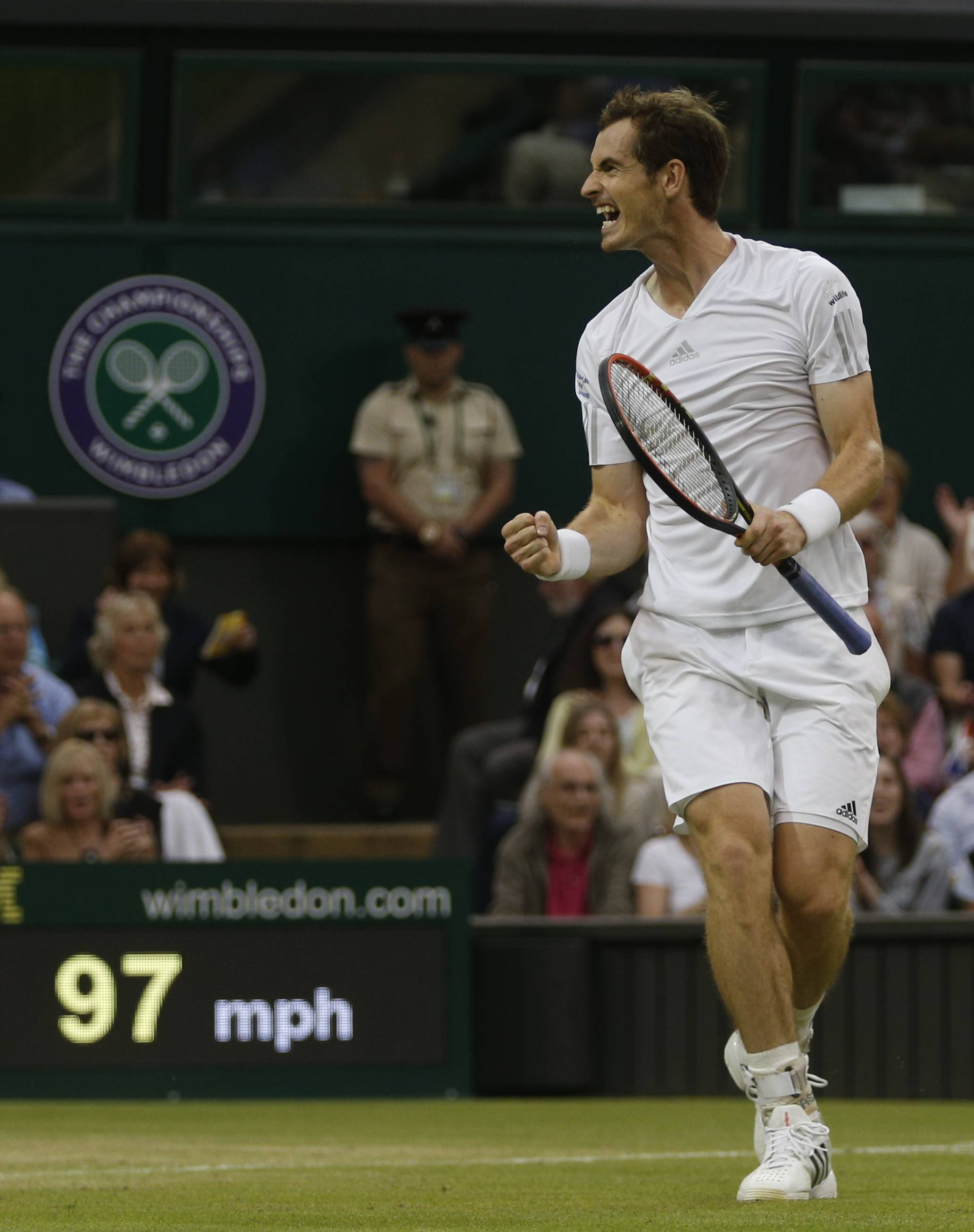 Andy Murray of Britain celebrates after defeating Kevin Anderson of South Africa at Wimbledon on Monday.