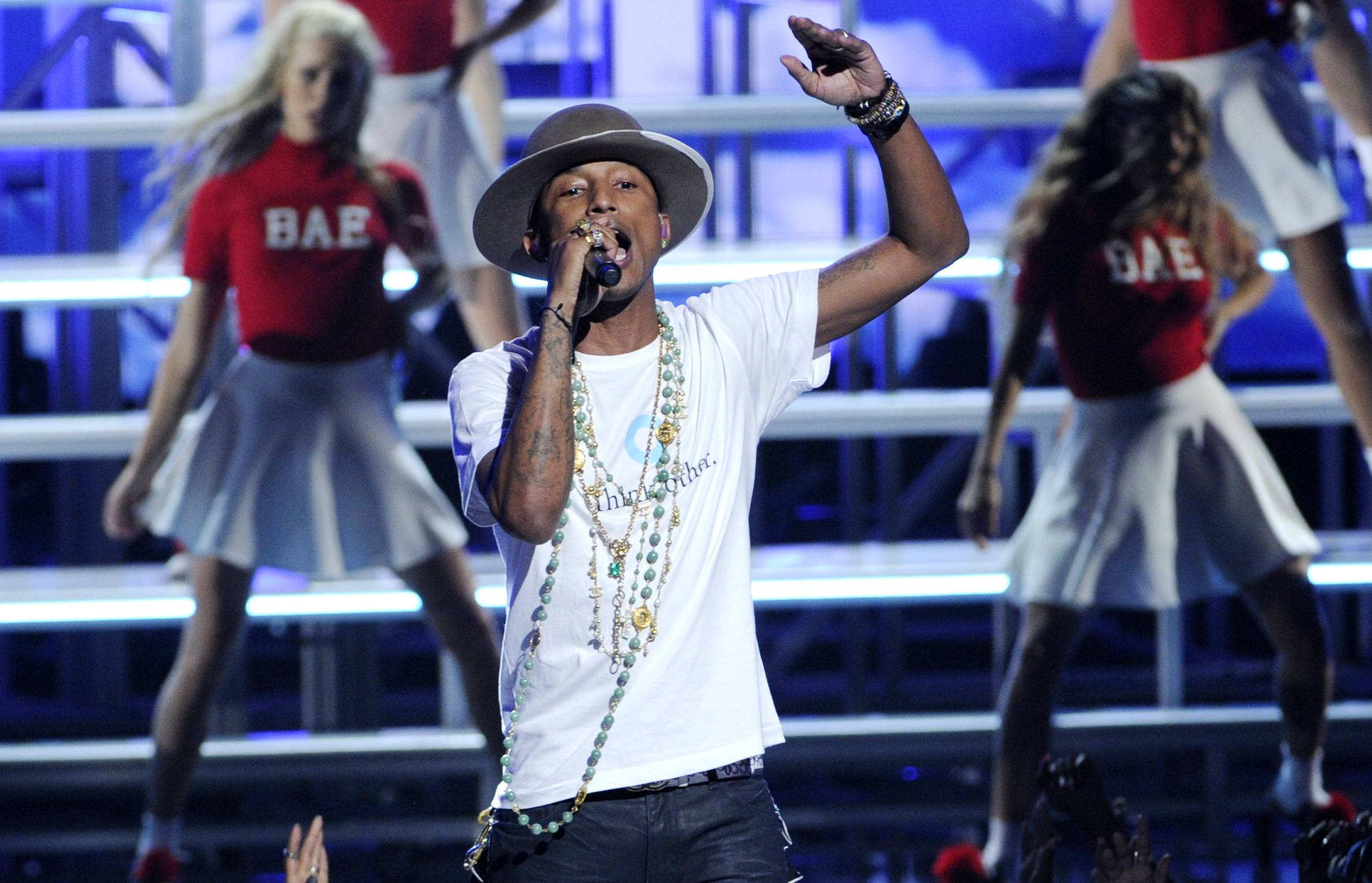 "Pharrell Williams performs Sunday at the BET Awards where he won video of the year for the song ""Happy."""