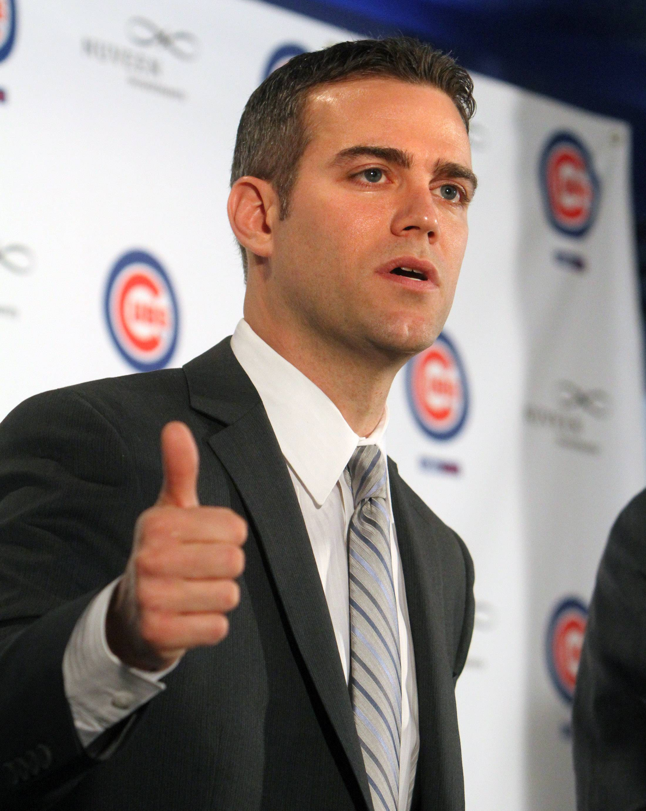 Theo Epstein, Chicago Cubs president of baseball operations, speaks during a news conference at Wrigley Field in Chicago on Tuesday, October 25th.
