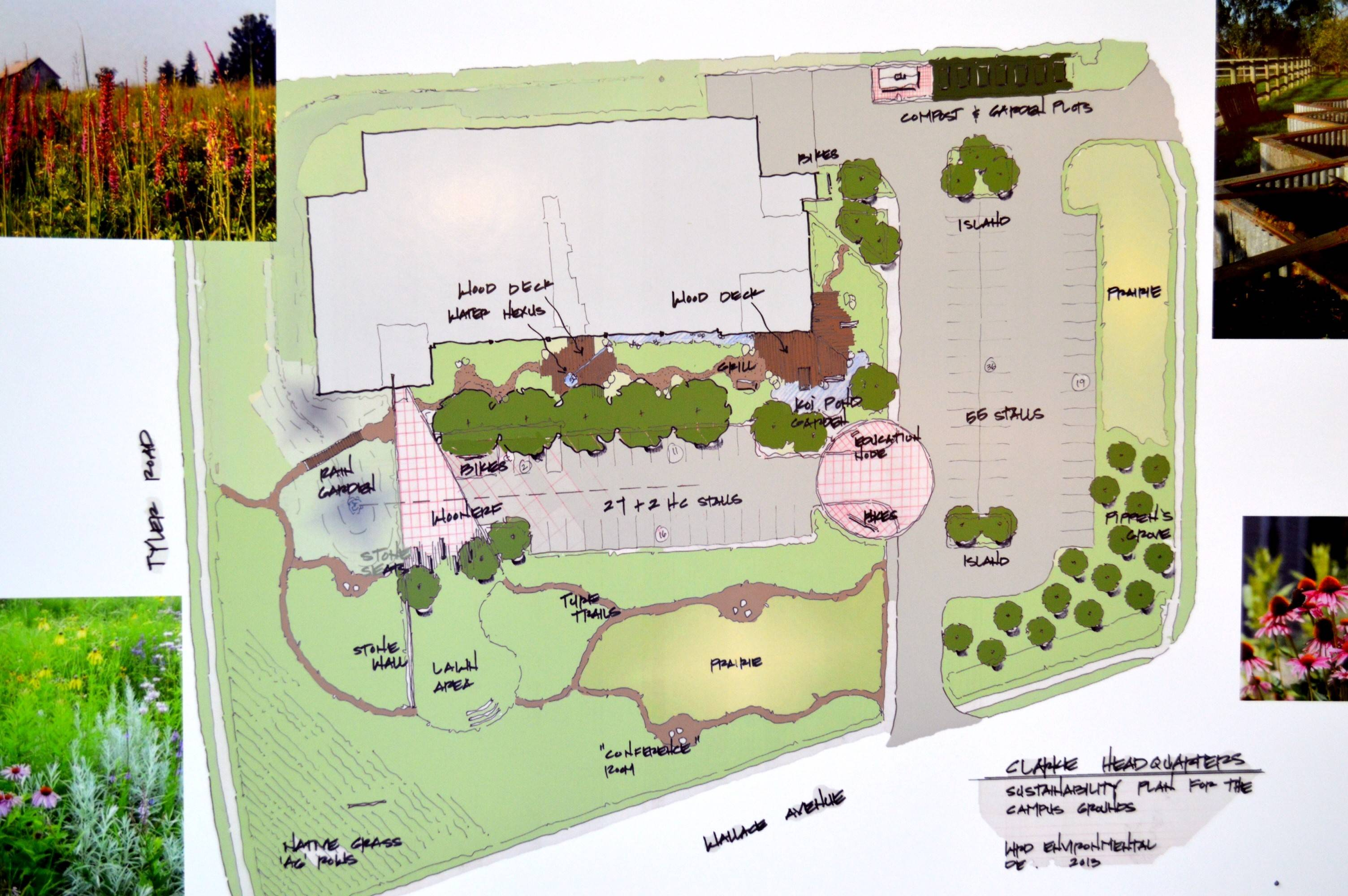The site plan for the new Clarke headquarters in St. Charles shows intense landscaping, including a natural prairie and a fruit tree orchard.