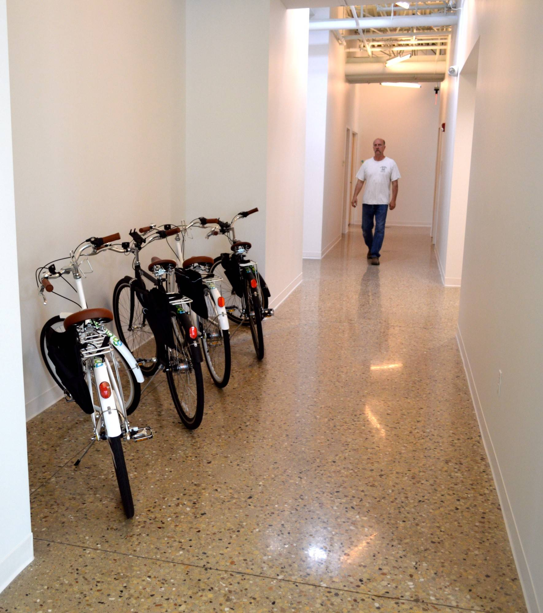 Bikes are available for employees to use for commuting to and from nearby restaurants during their lunch breaks.