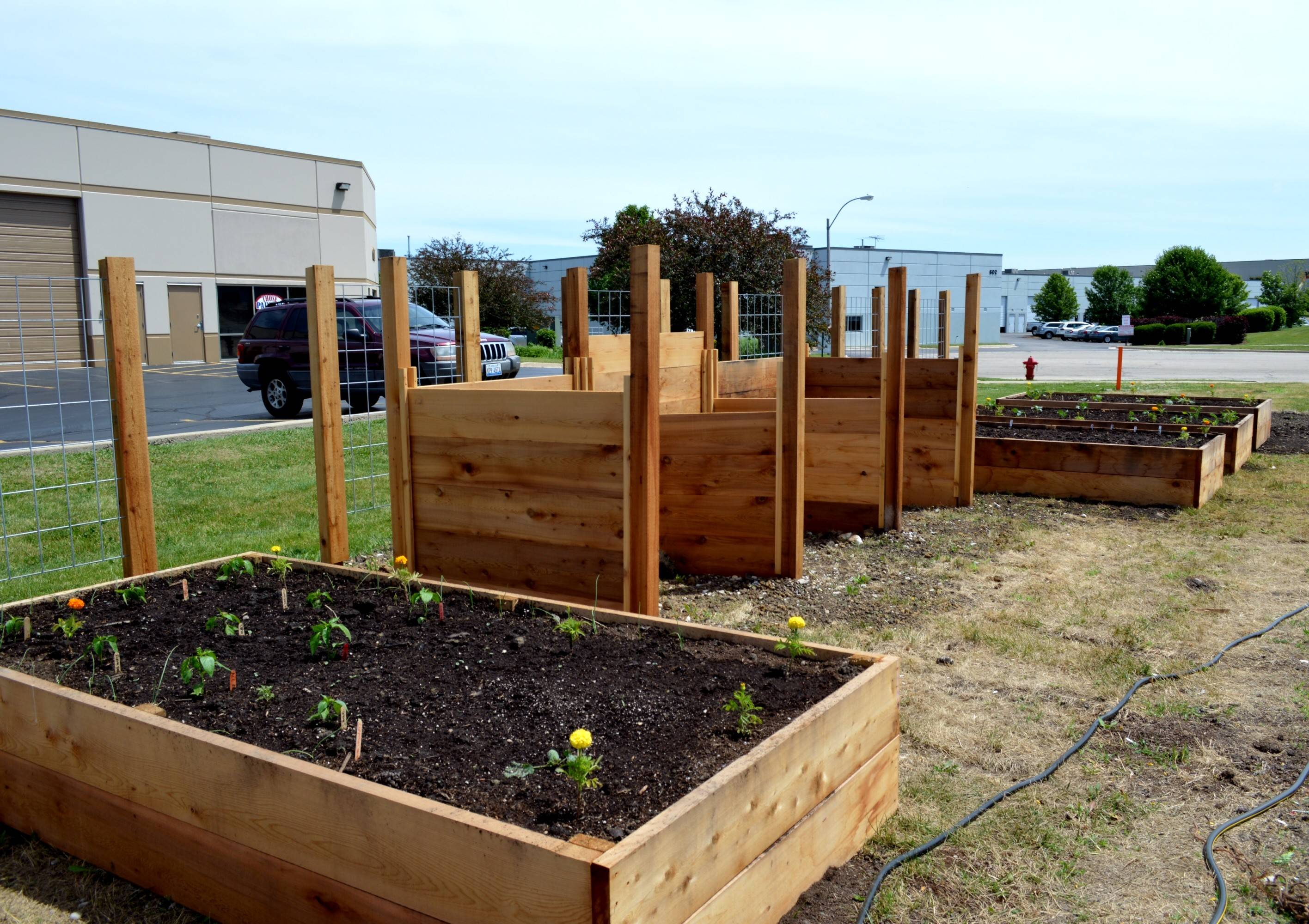 Flower and vegetable gardens are tended by employees and will be used for lunchtime salads once the initial crop is harvested.