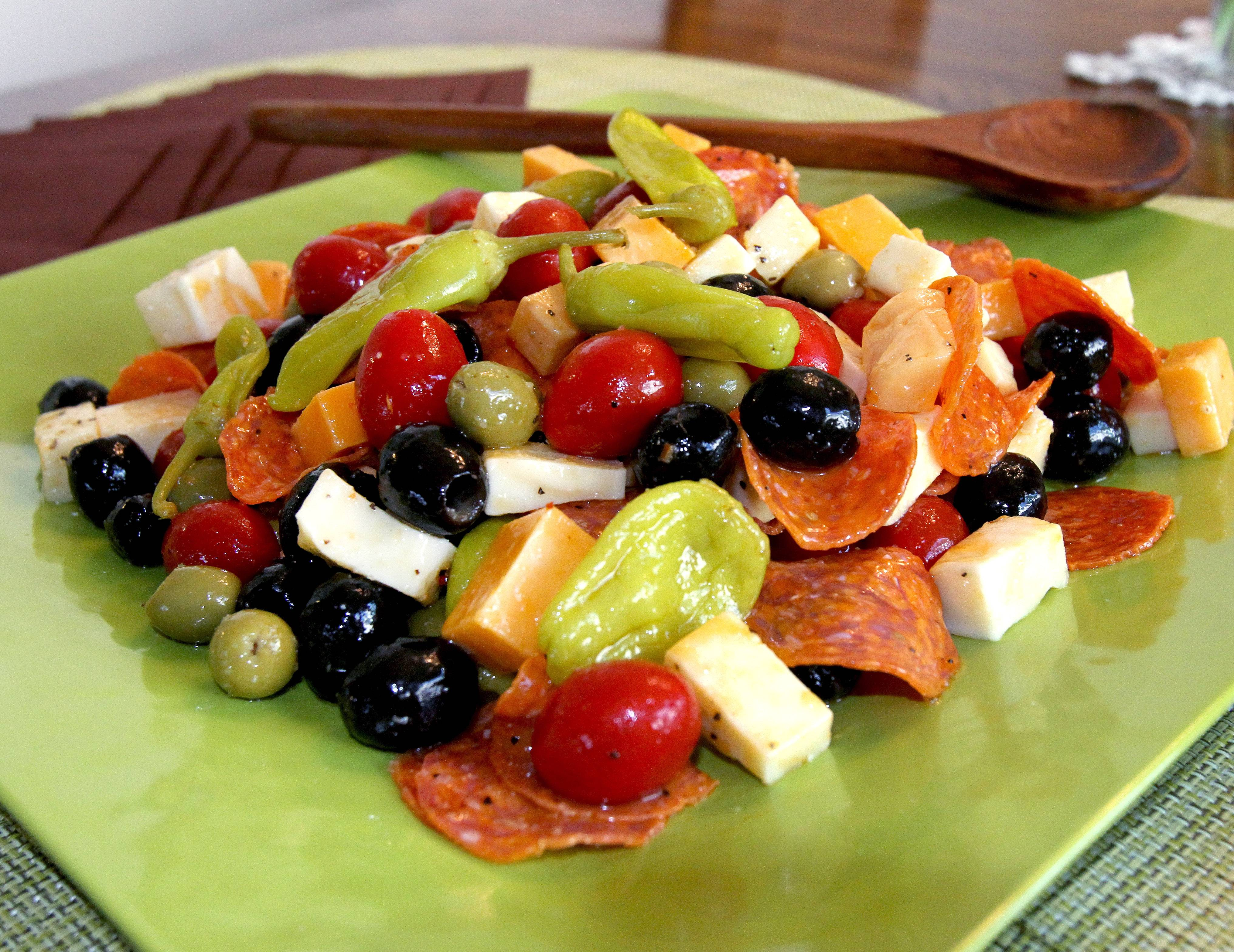 Black olives and cheese mingle with spicy peppers in Judy Monaco's Antipasto Salad