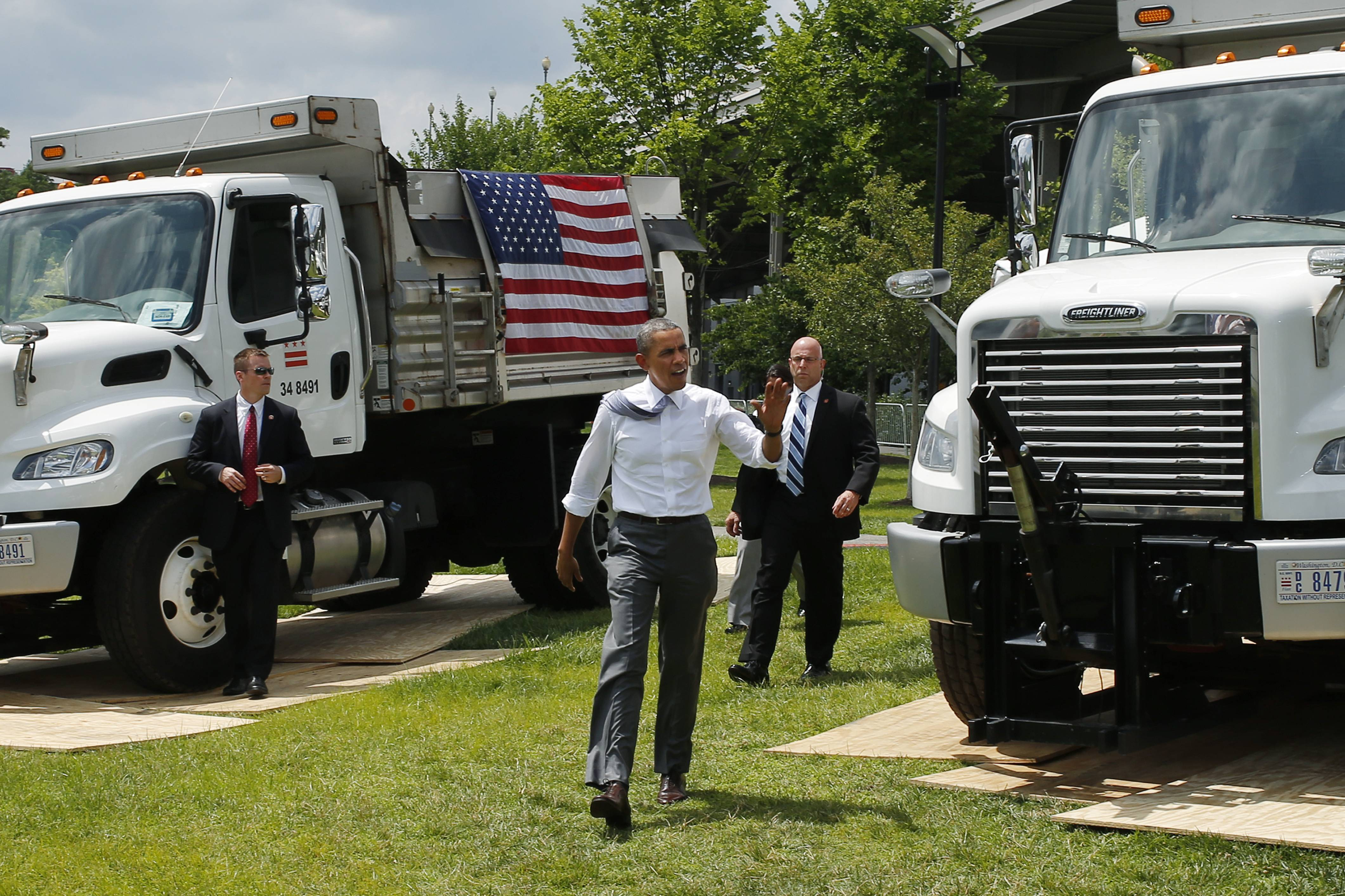 President Barack Obama arrives to speak about transportation and the economy at the Georgetown Waterfront Park in Washington Tuesday. Gridlock in Washington will lead to gridlock across the country if lawmakers can't quickly agree on how to pay for transportation programs, Obama administration officials warn. States will begin to feel the pain of cutbacks within weeks -- peak summer driving time.