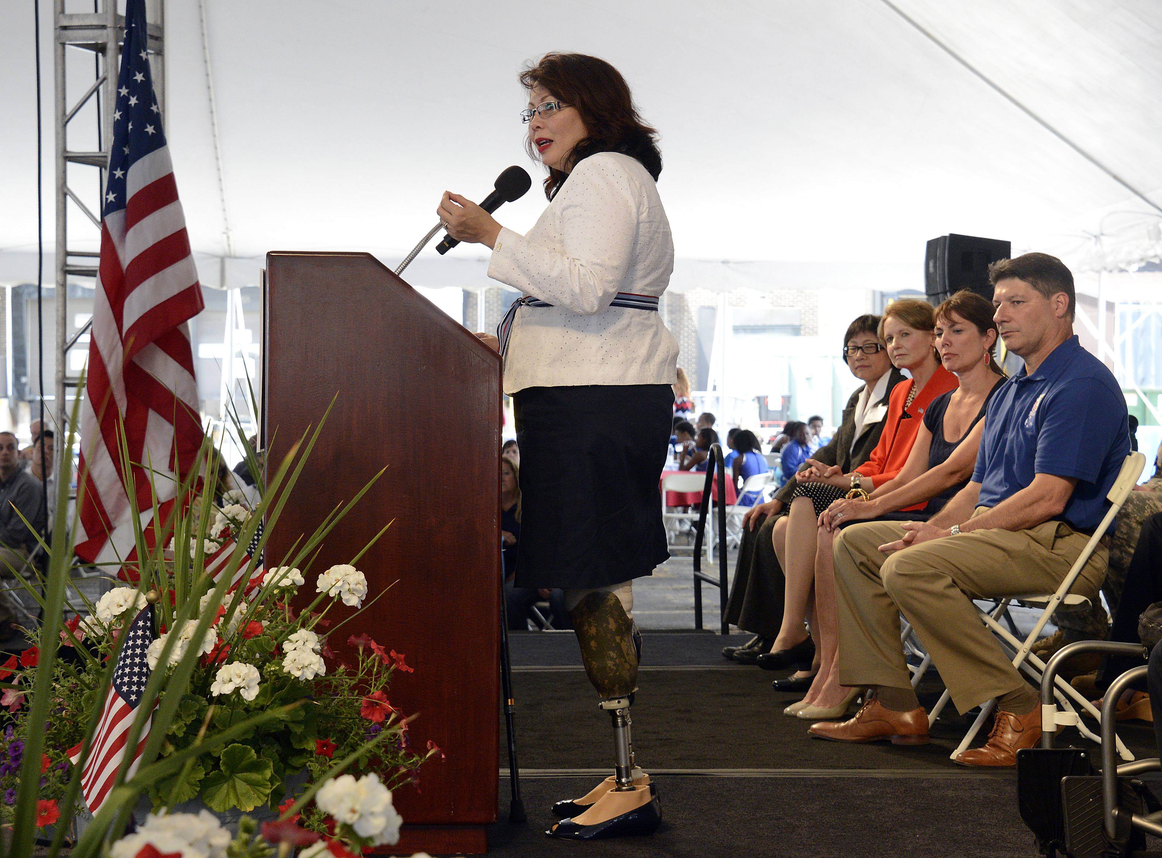 Congresswoman Tammy Duckworth, Illinois' 8th District speaks Tuesday at Northrop Grumman's 2014 America's Day in Rolling Meadows.