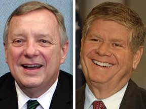 Democrat Dick Durbin, left, and Republican Jim Oberweis, right, are candidates U.S. Senate in November.