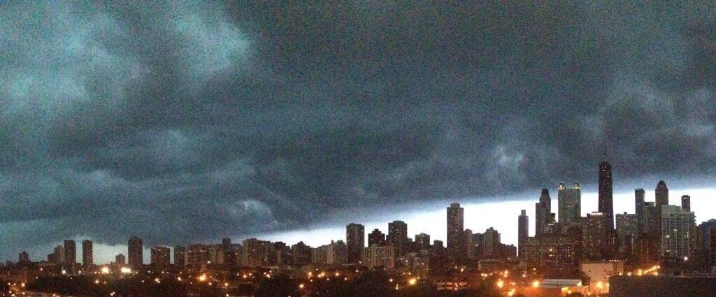 Storm clouds move in on Chicago Monday.