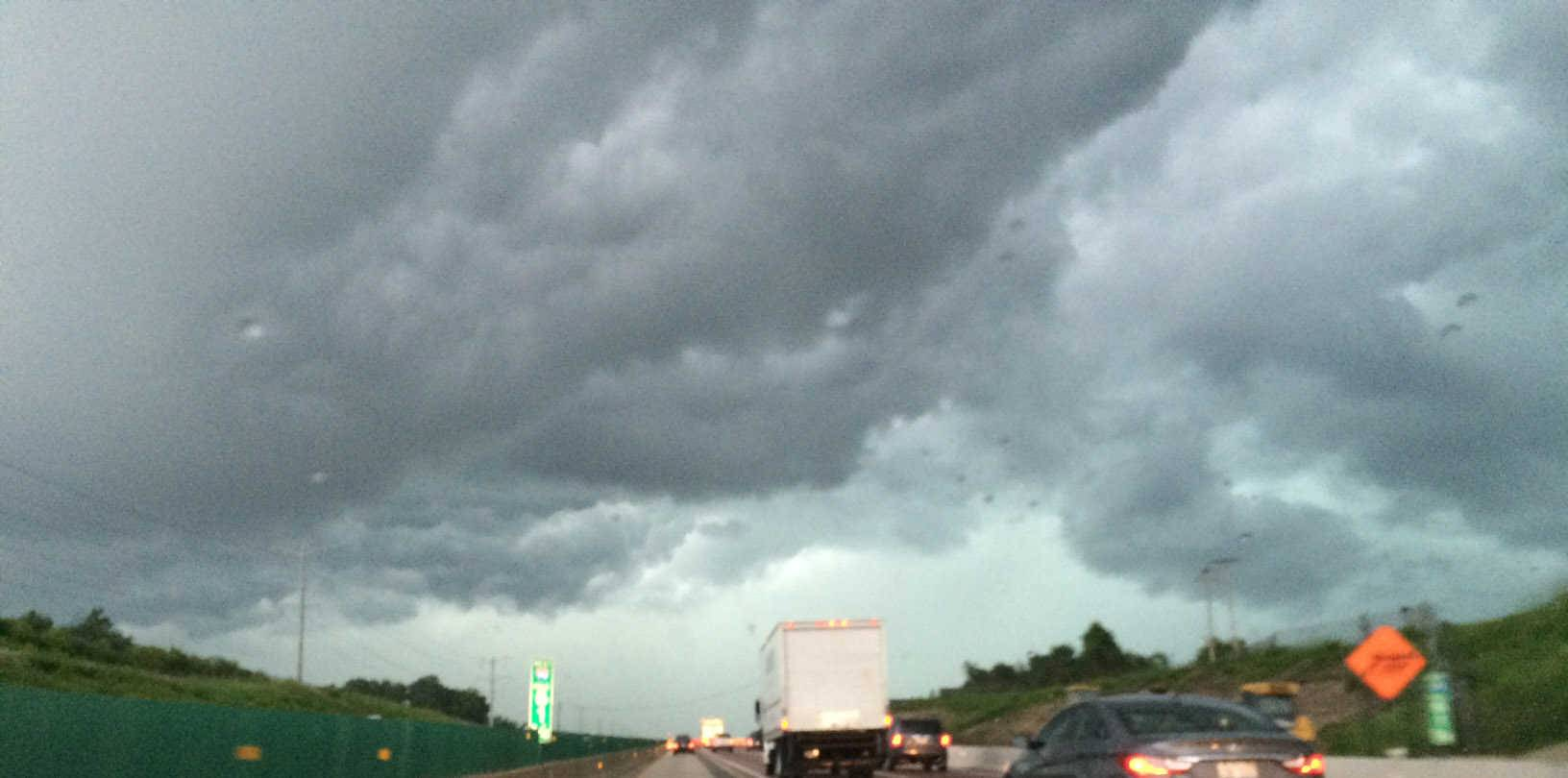 Storm clouds move along the Jane Addams Memorial Tollway on Monday evening.