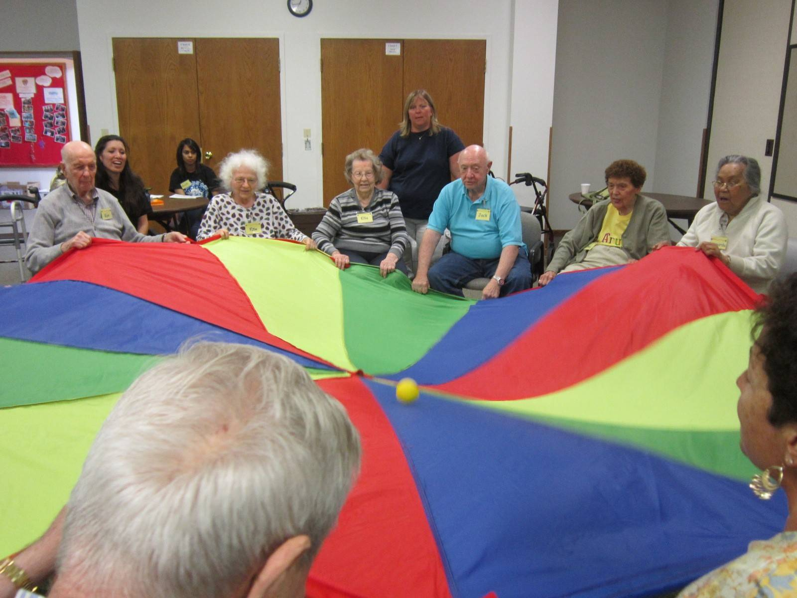 Participants take part in one of the many group activities at A Caring Place in Elk Grove Village. While A Caring Place specializes in working with adults with mild cognitive and physical impairments, the program is open to all adults who want to stay active.