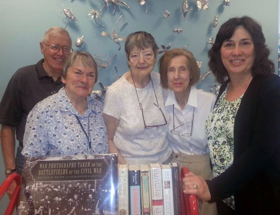 L to R: Des Plaines Public Library's Friends of the Library members Ralph Minnis, Jan Geist, Mary Minnis, Roy Terp's wife Kay, and library director Holly Sorensen.Des Plaines Public Library