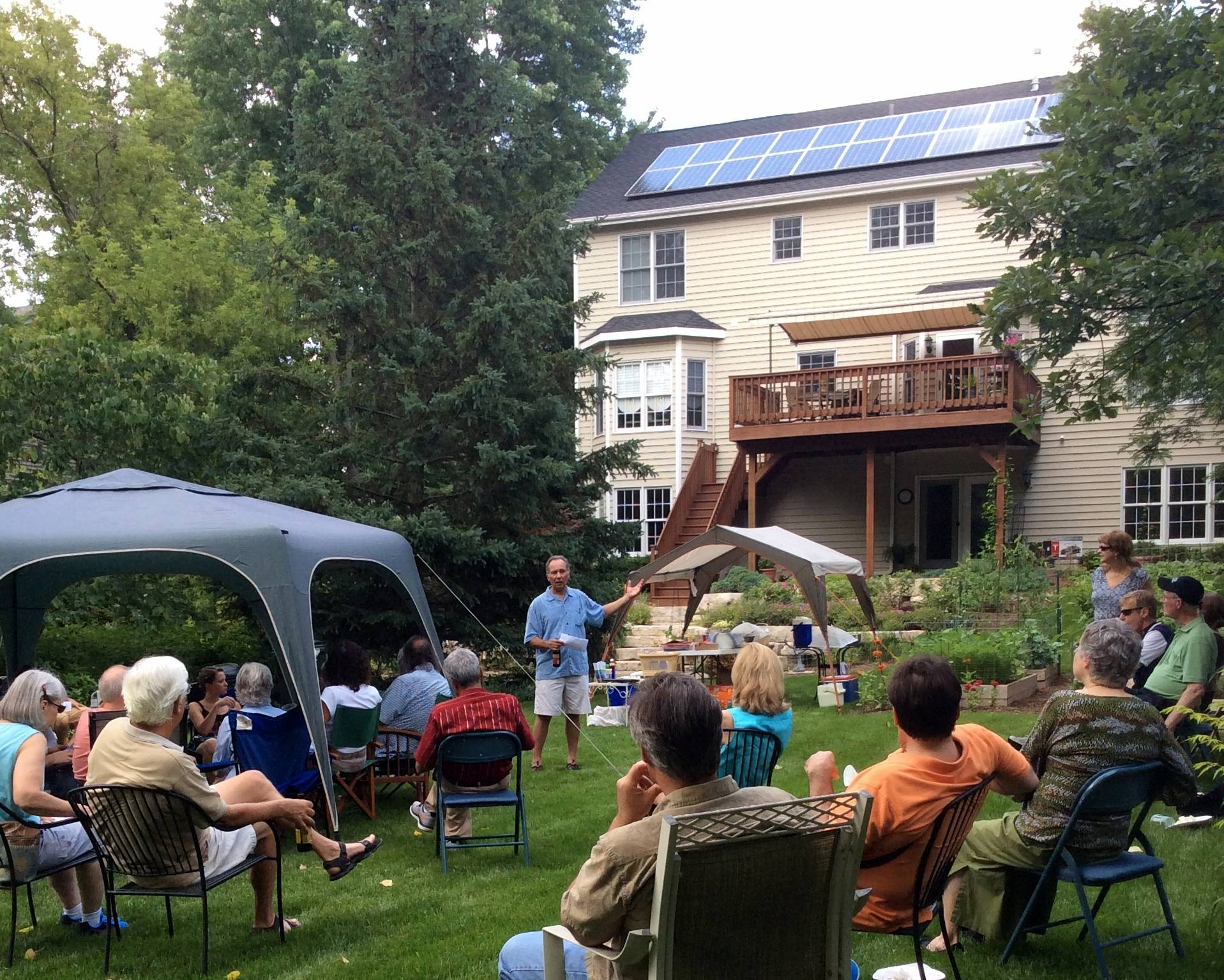 "Palatine homeowner Peter Gorr describes his experience converting his home to solar energy during his ""Solar Social"" event on June 28.Kacie Peters"