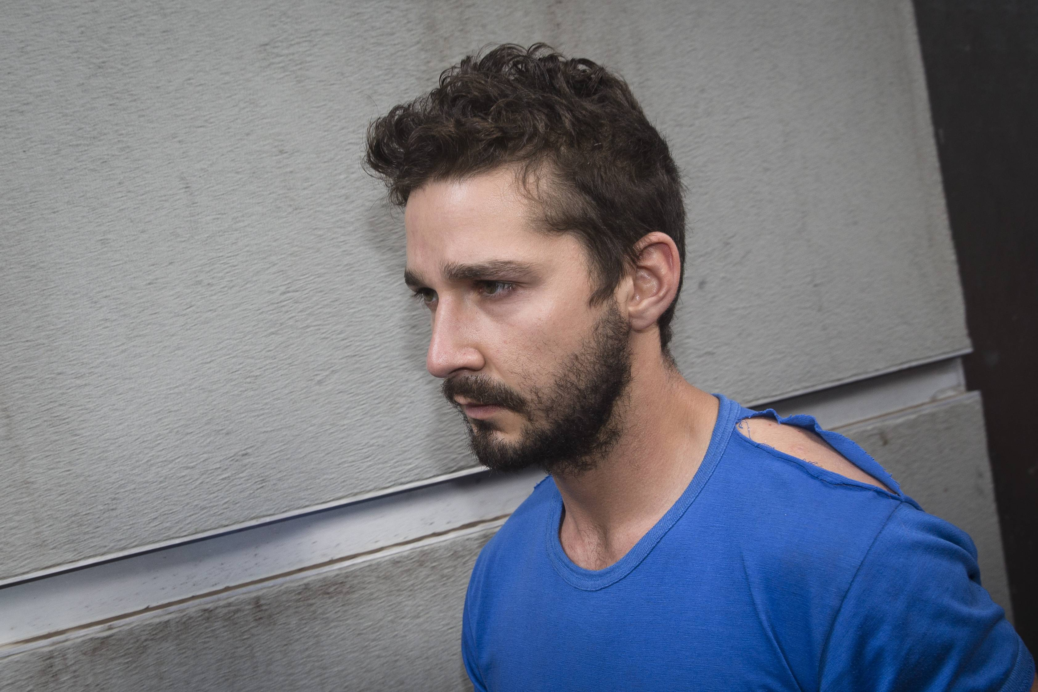 "Actor Shia LaBeouf, shown leaving Midtown Community Court after being arrested the previous day for yelling obscenities at the Broadway show ""Cabaret,"" Friday in New York, is now being treated for alcoholism."