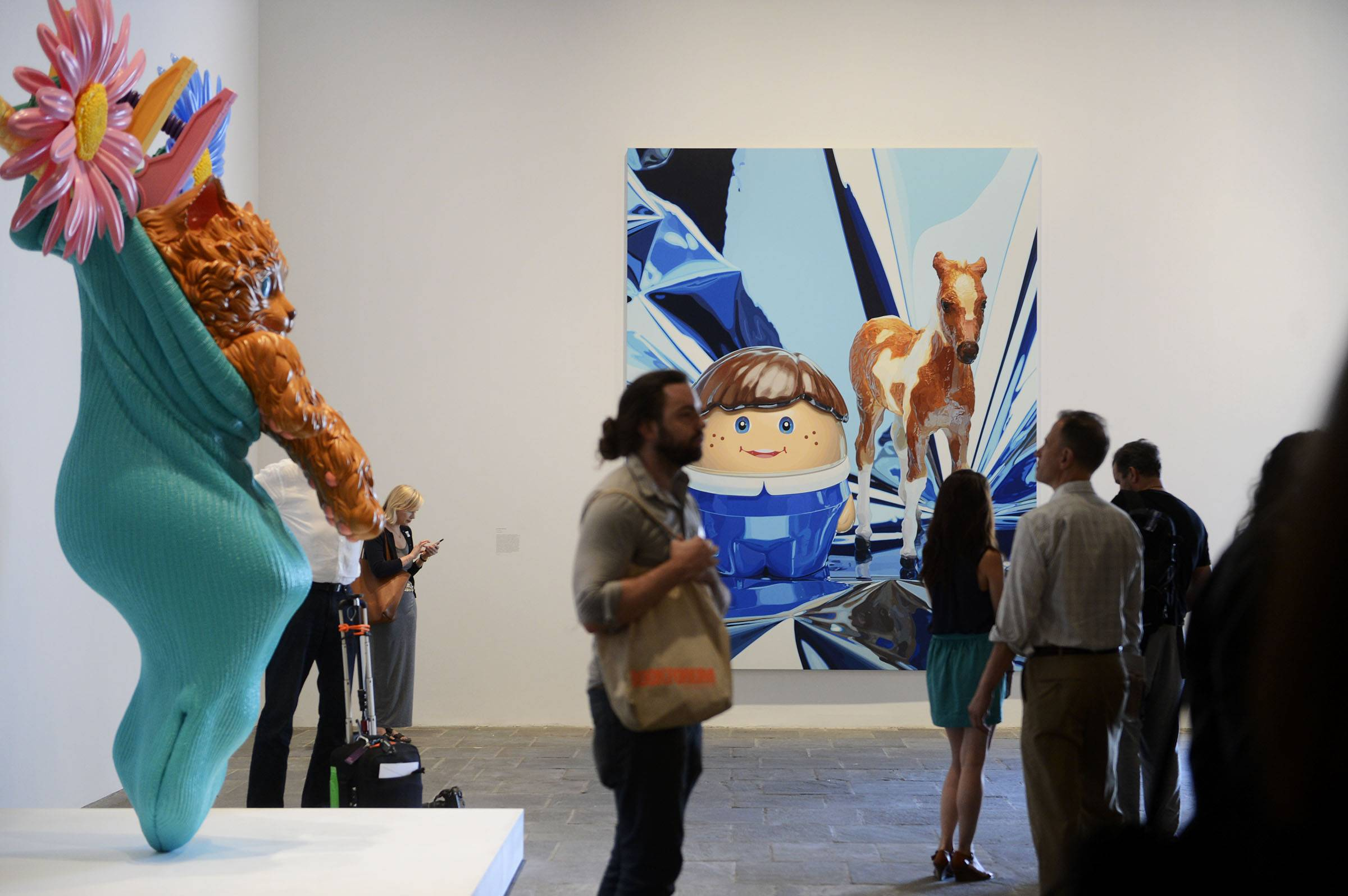 "Art pieces by Jeff Koons are on display in ""Jeff Koons: A Retrospective"" at the Whitney Museum of American Art in New York."