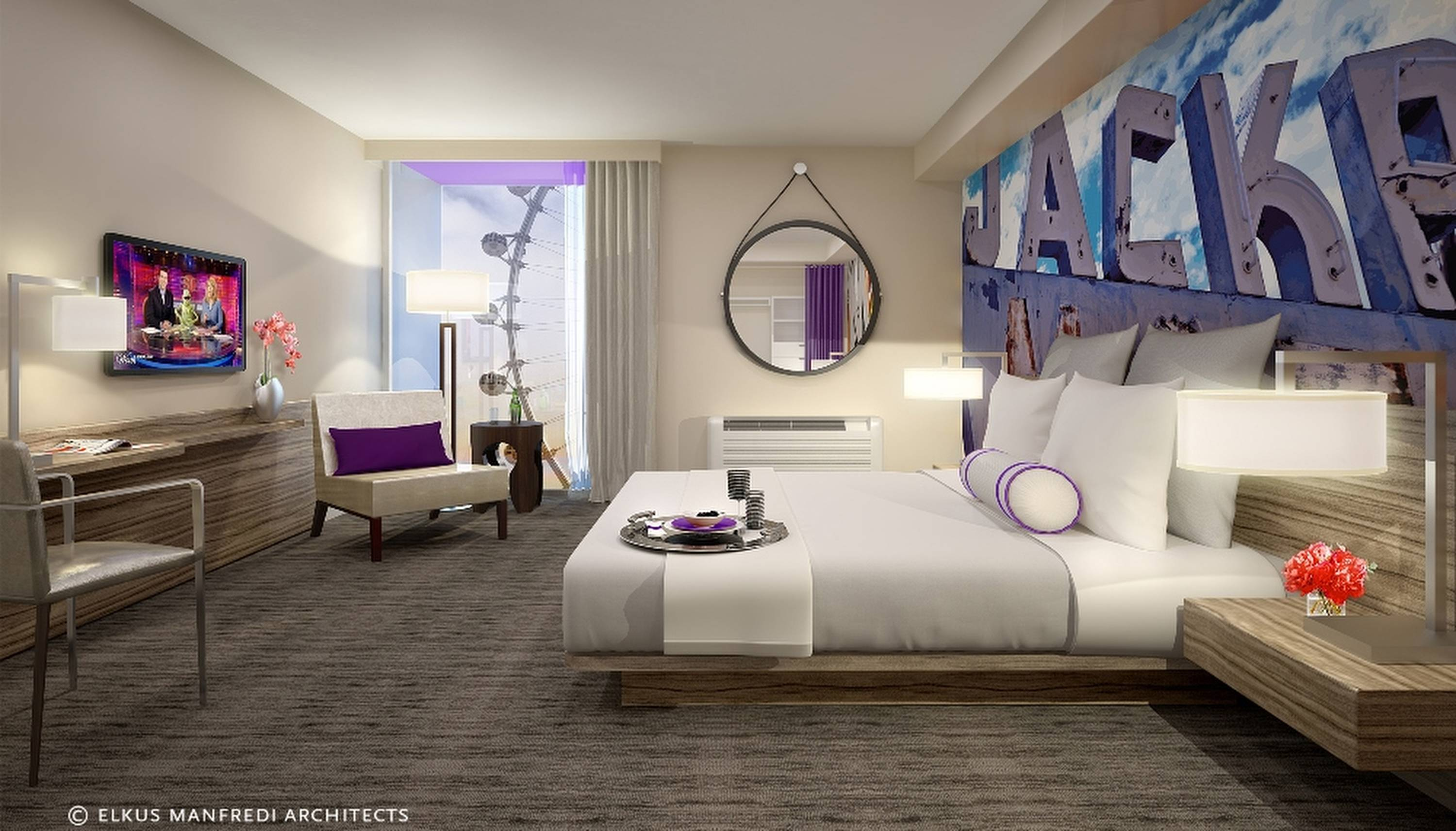 A guest room of a proposed new $223 Million LINQ Hotel & Casino, the latest addition to its portfolio of Las Vegas resorts. Caesars Entertainment said Tuesday that it's overhauling The Quad and renaming it the LINQ Hotel & Casino effective Oct. 30.