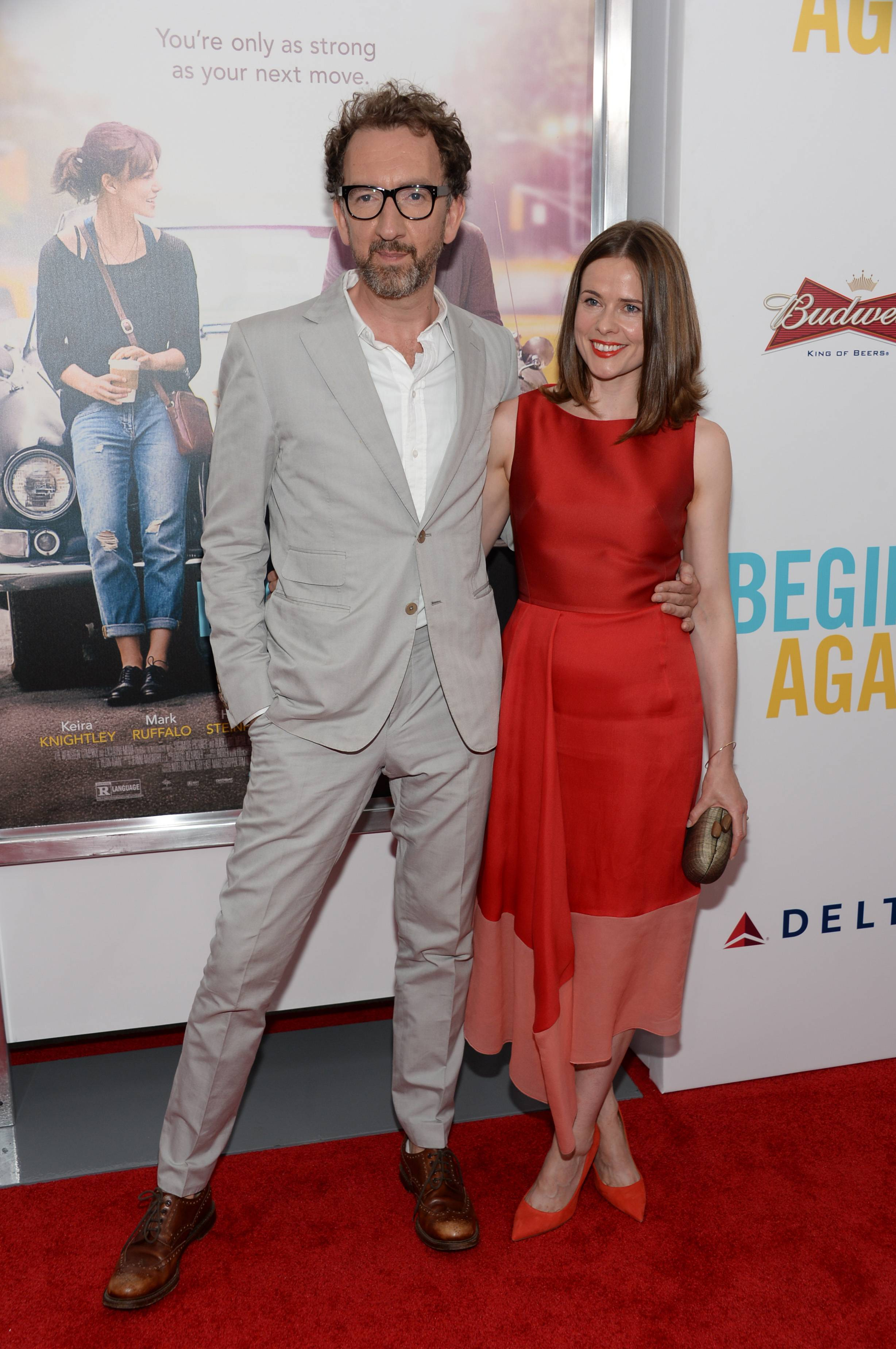 "Director John Carney and actress Marcella Plunkett attend the New York Premiere of ""Begin Again."""