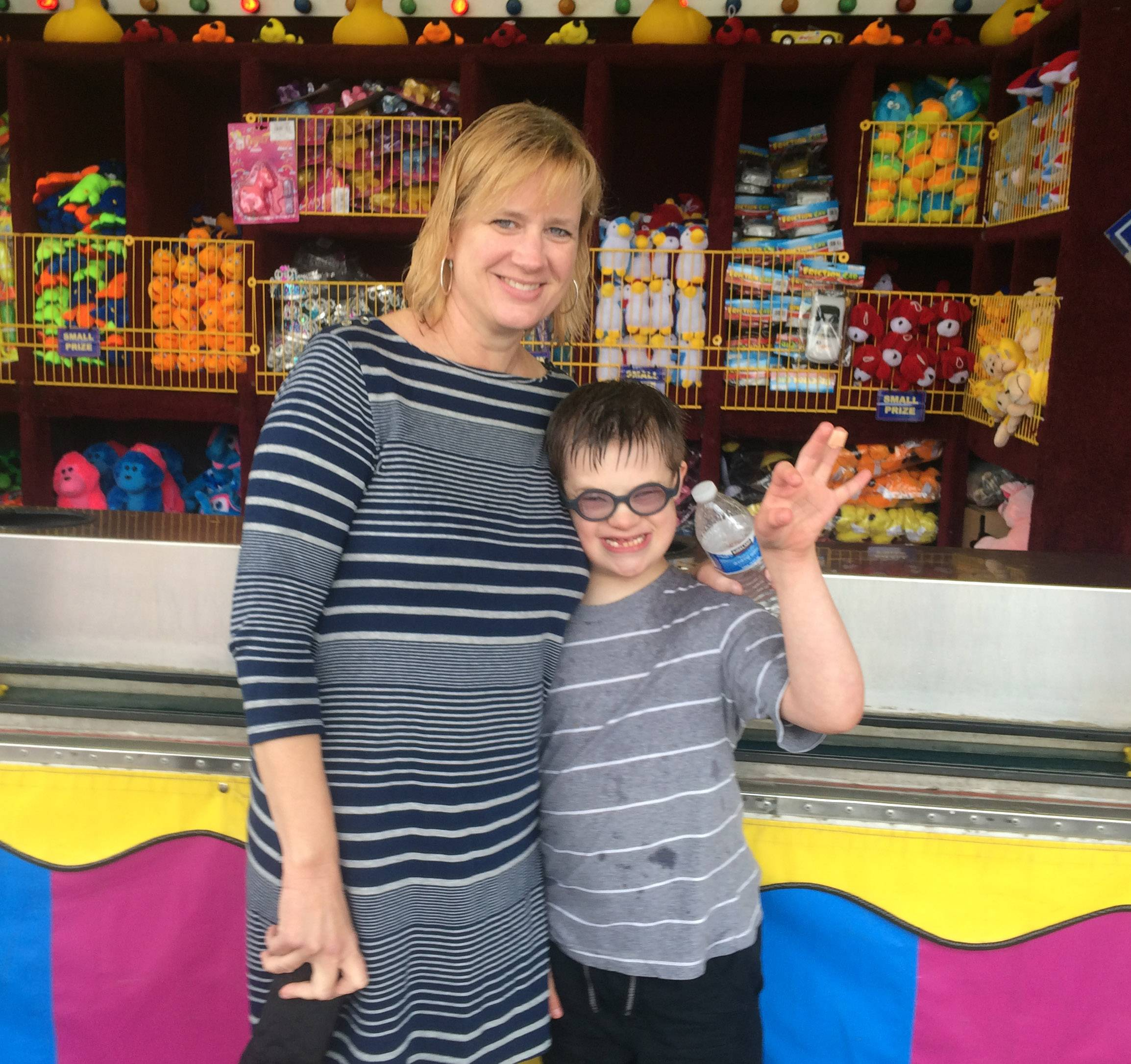 Amy Barker of Palatine attends the Palatine Jaycees' 57th Hometown Fest with her son Colin.
