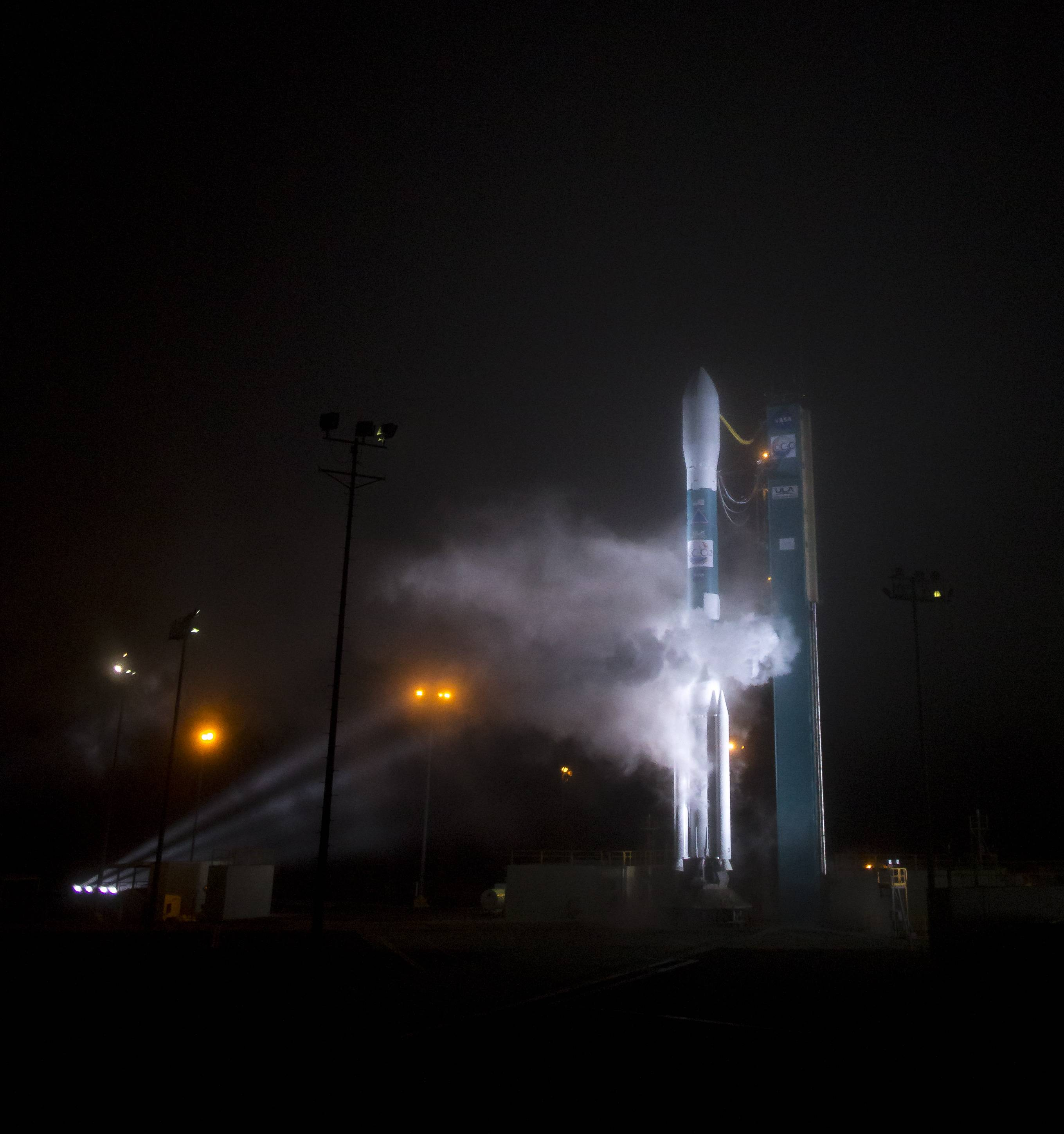 A Delta 2 rocket with the Orbiting Carbon Observatory-2 satellite sits on the launchpad about 8 minutes before launch at Vandenberg Air Force Base, Calif., Wednesday morning, July 2, 2014. The goal of the $468 million mission, designed to last at least two years, is to study the processes behind how the environment absorbs carbon dioxide.