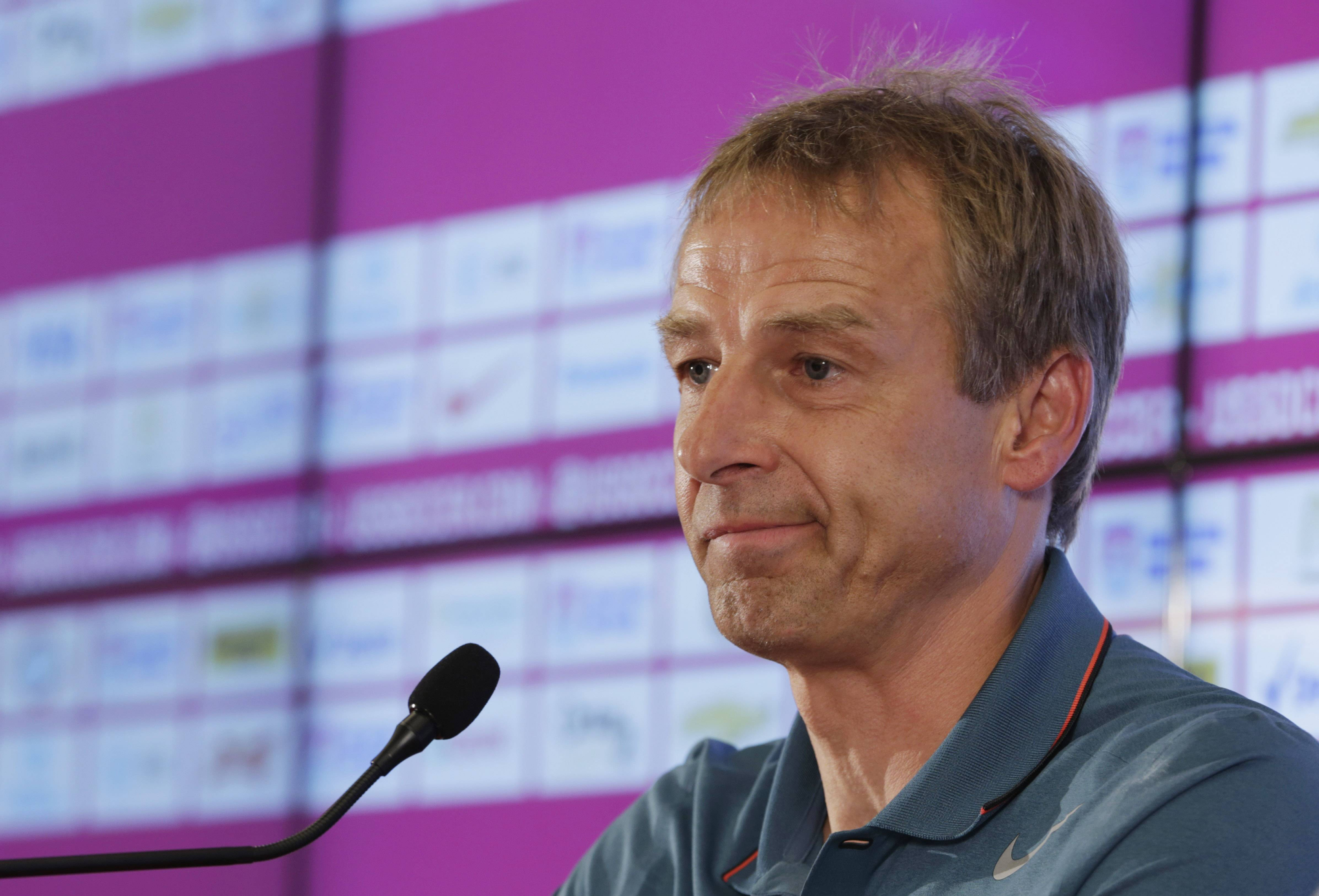 United States head coach Jurgen Klinsmann addresses the press in Sao Paulo, Brazil, Wednesday, July 2, 2014. The U.S. was eliminated from the second round of the 2014 soccer World Cup in a 2-1 loss to Belgium in Salvador, Brazil.