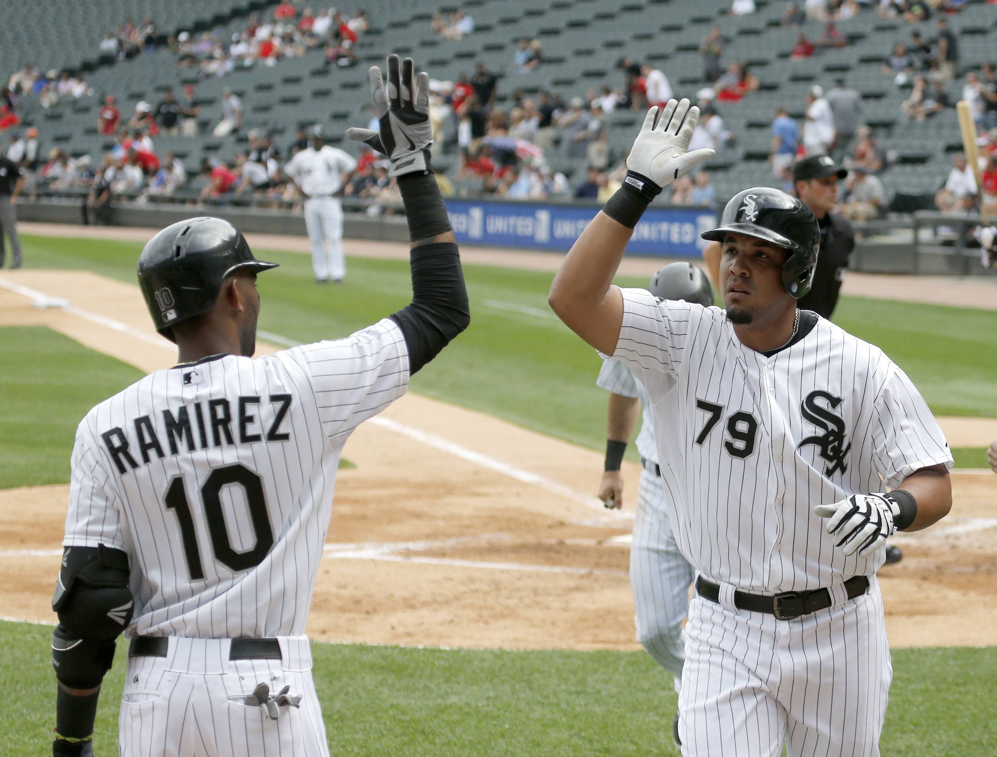 Chicago White first baseman Jose Abreu (79) celebrates his three-run home run against the Los Angeles Angels on Tuesday. Abreu earned top rookie honors for June.