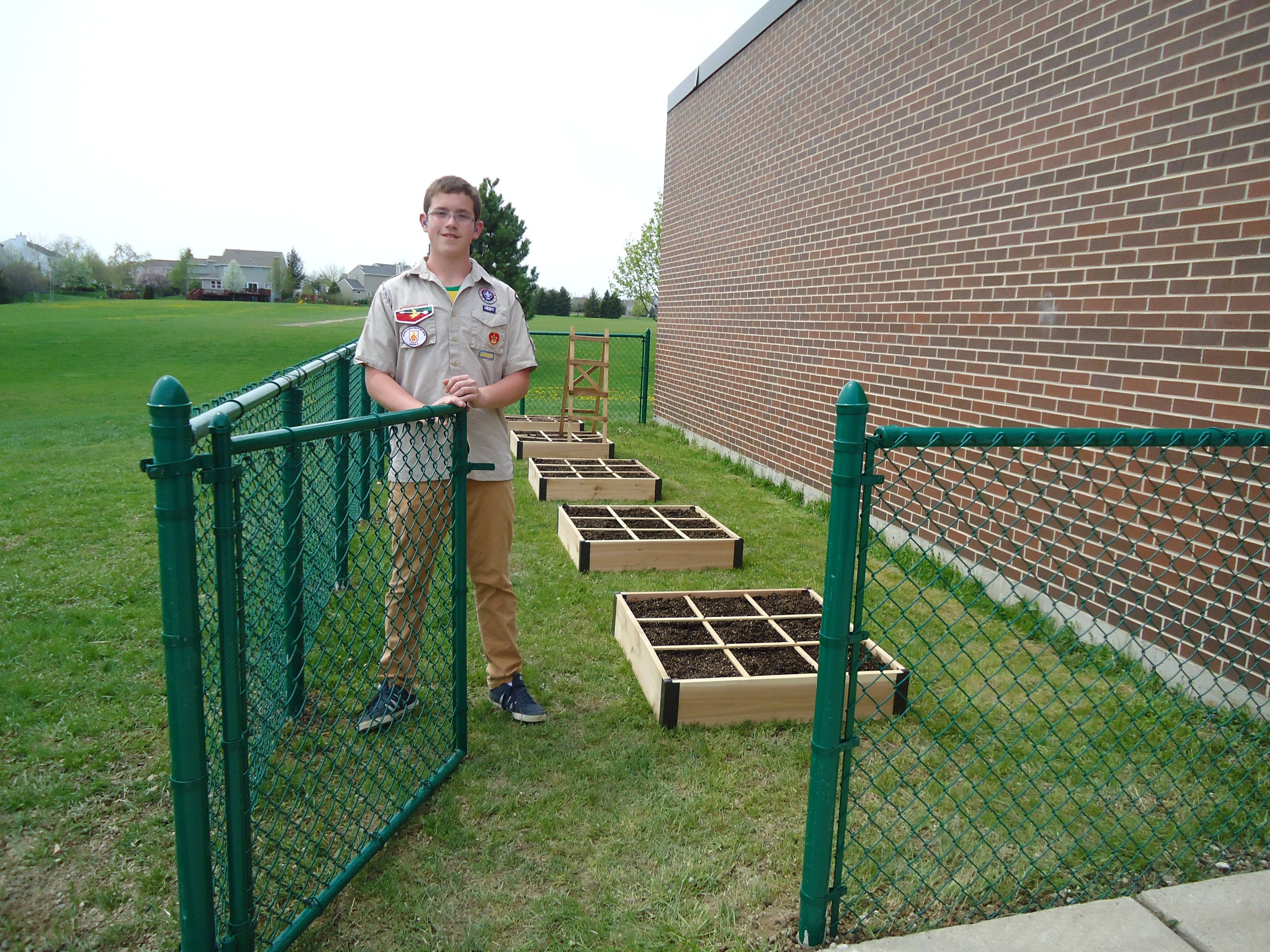 Tyler Marx built a fence around the school vegetable garden at Mechanics Grove Elementary School as part of his Eagle Scout project.