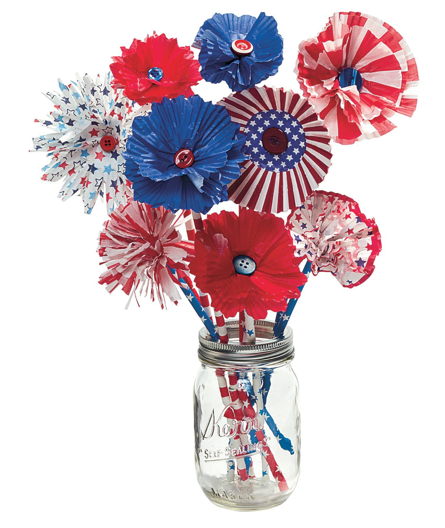 Build your own bunch of red-white-and-blue blooms with patriotic party supplies -- including seasonal cupcake liners and paper straws.