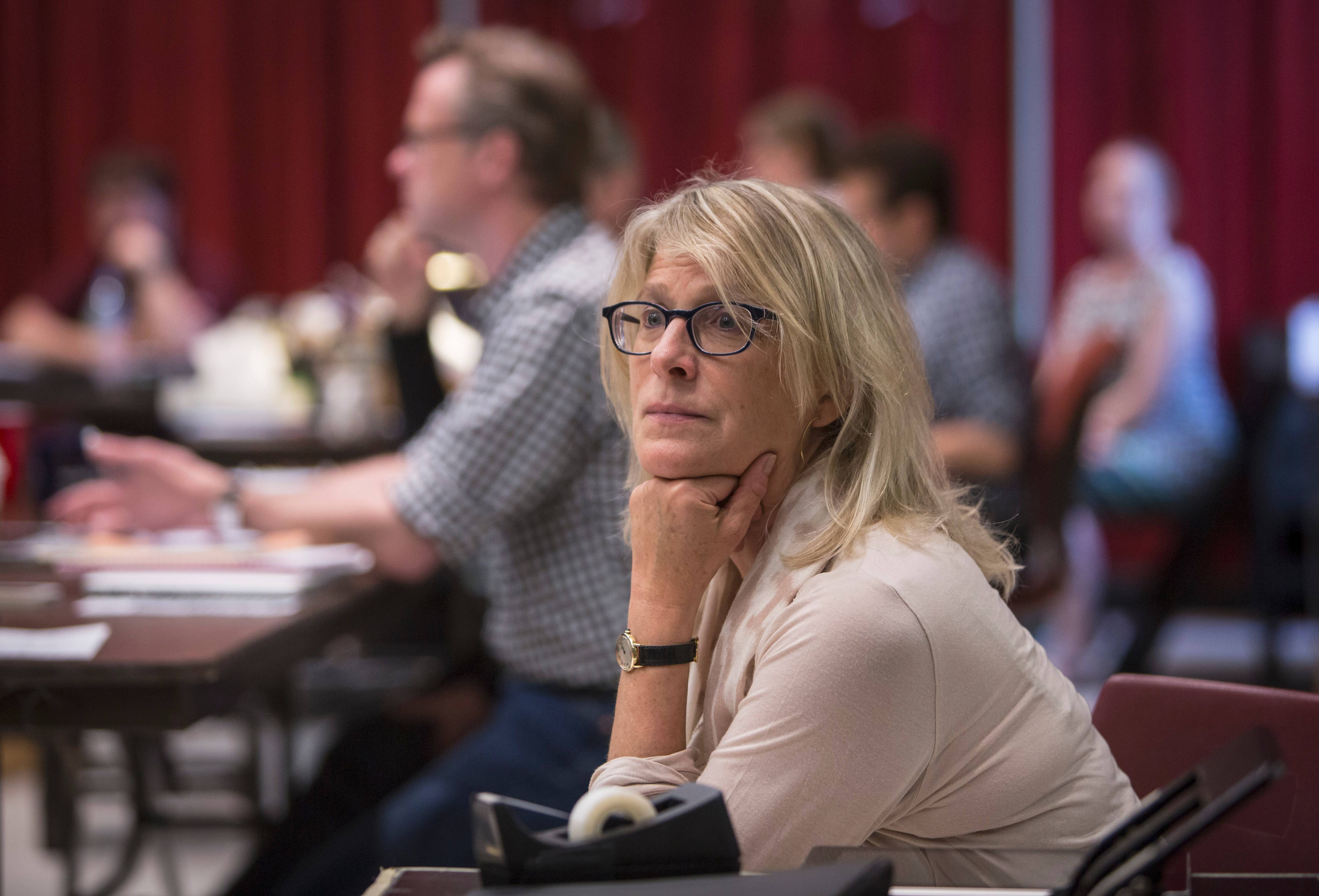 "Liza Lerner, daughter of Alan Jay Lerner, observes a rehearsal of Goodman Theatre's revival of ""Brigadoon."""