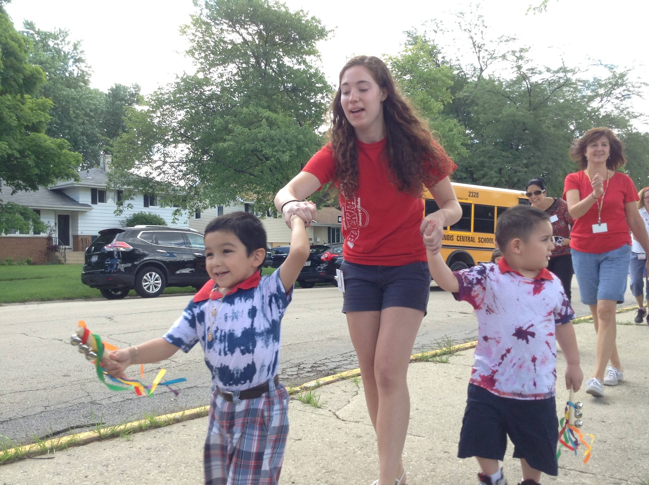 Students and teachers at Jefferson Early Childhood Center in Wheaton took part in an early 4th of July parade Thursday.