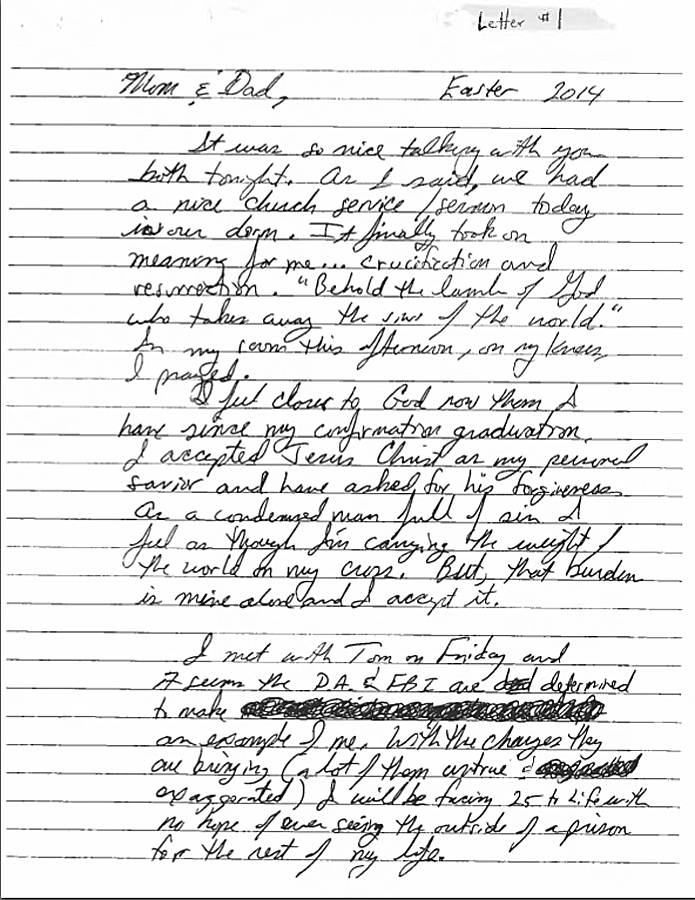 A note written by Matthew Coniglio to his parents before he committed suicide on April 20, 2014, at the Chatham County Jail. Coniglio, a 46-year-old traveling salesman, was accused of molesting and raping unconscious girls.