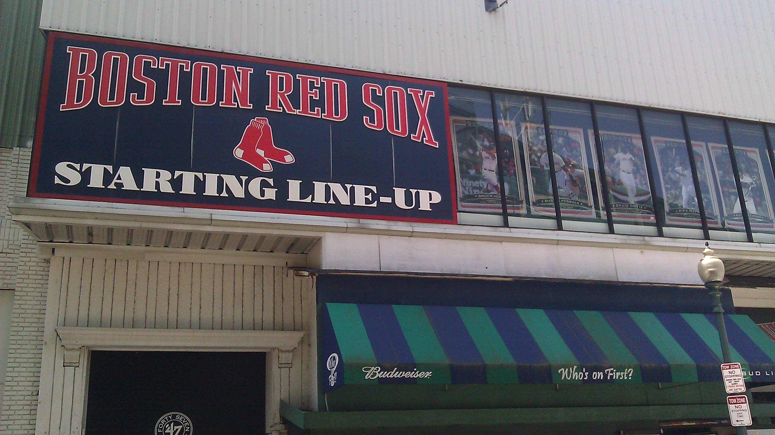 Posting huge baseball card images of the starting lineups outside Fenway Park is one way the Red Sox cater to fans who gather around the 102-year-old ballpark before games.