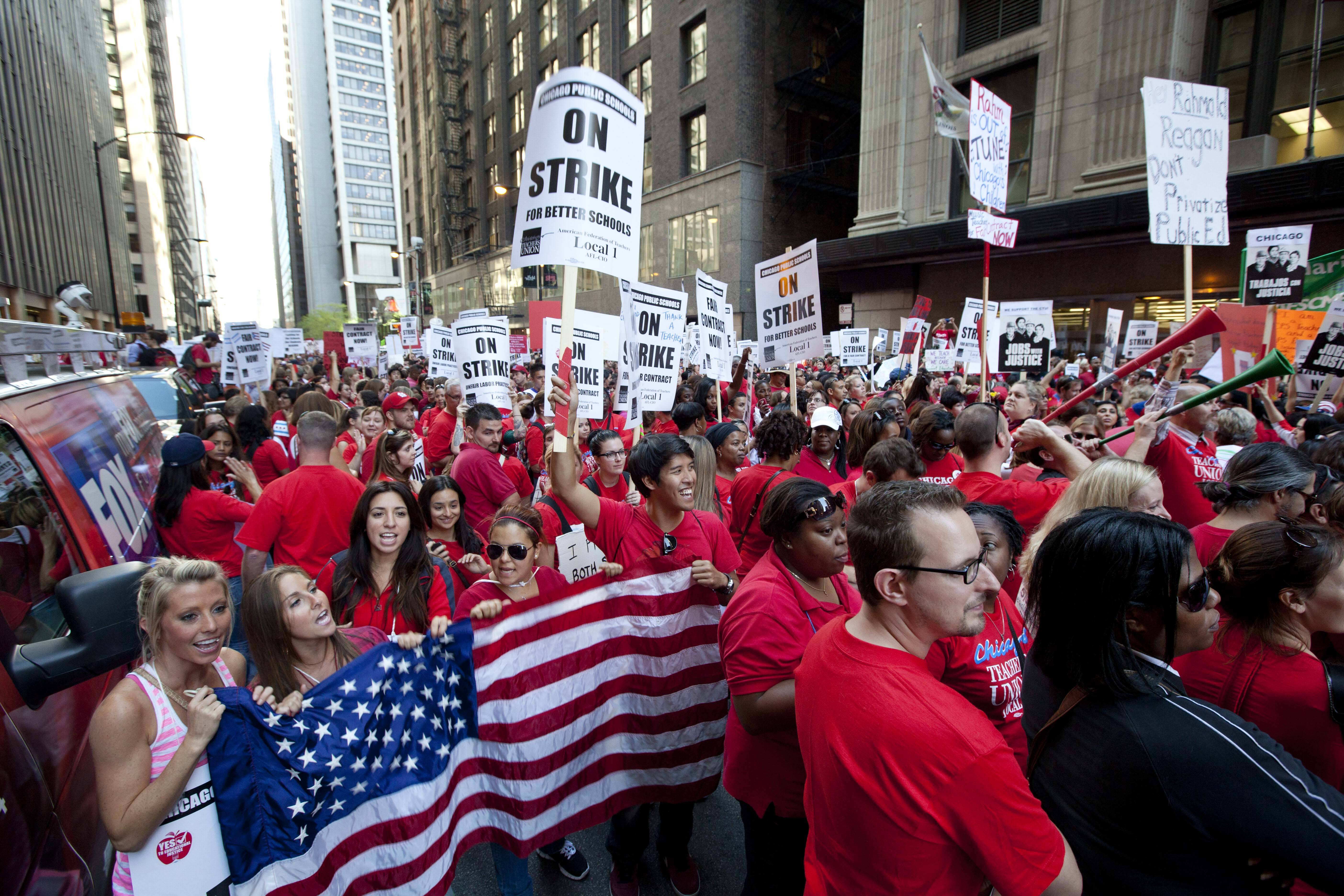 Thousands of public school teachers rally outside the Chicago Public Schools district headquarters.
