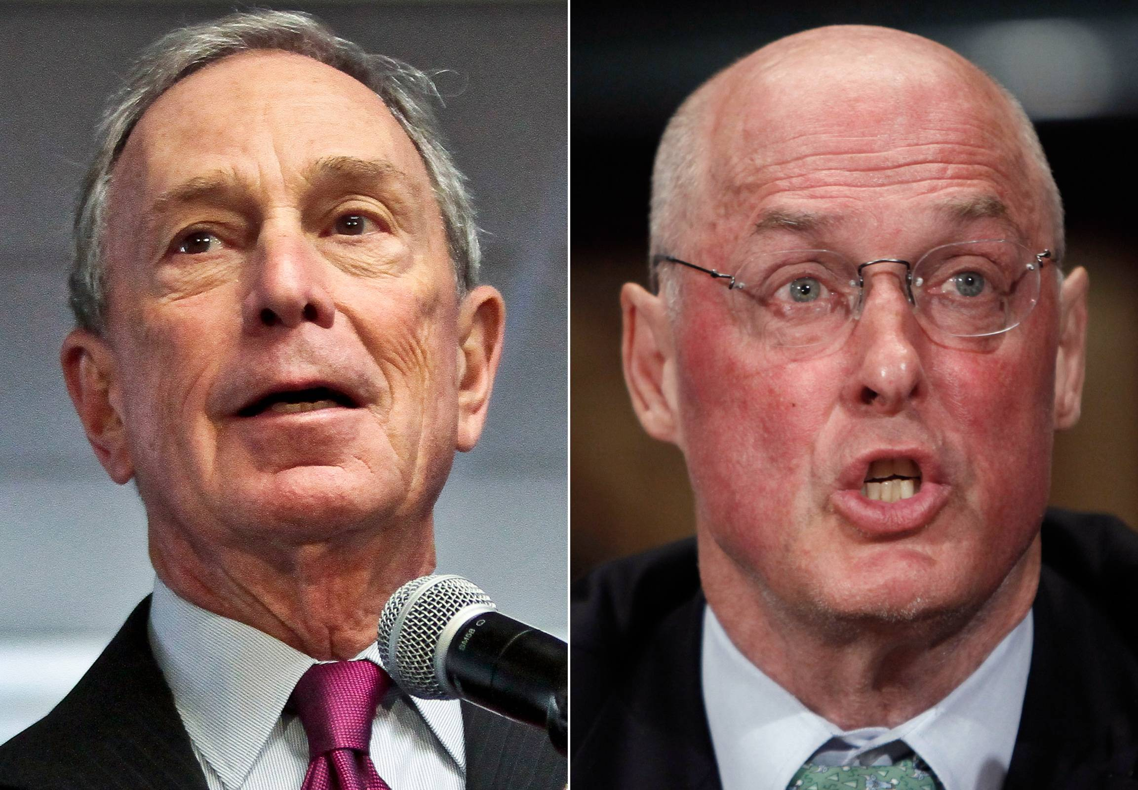 This combo made from file photos shows former New York City Mayor Michael Bloomberg, left, and former Treasury Secretary Henry Paulson. Climate change will exact enormous costs on U.S. regional economies in the form of lost property, reduced industrial output and higher health expenses, according to a report backed by Bloomberg, Paulson and Thomas F. Steyer, a former hedge fund manager.