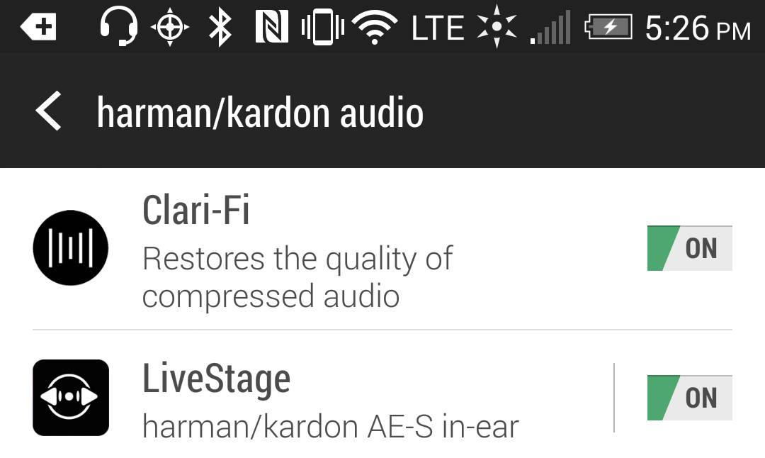 This screen shot shows settings for Harman Kardon's Clari-Fi and LiveStage features on an Android phone. Clari-Fi aims to restore some of the audio signal that is lost because of digital compression in today's download and streaming formats. LiveStage claims to tune your listening experience to the specific Harman Kardon earphones you are wearing.