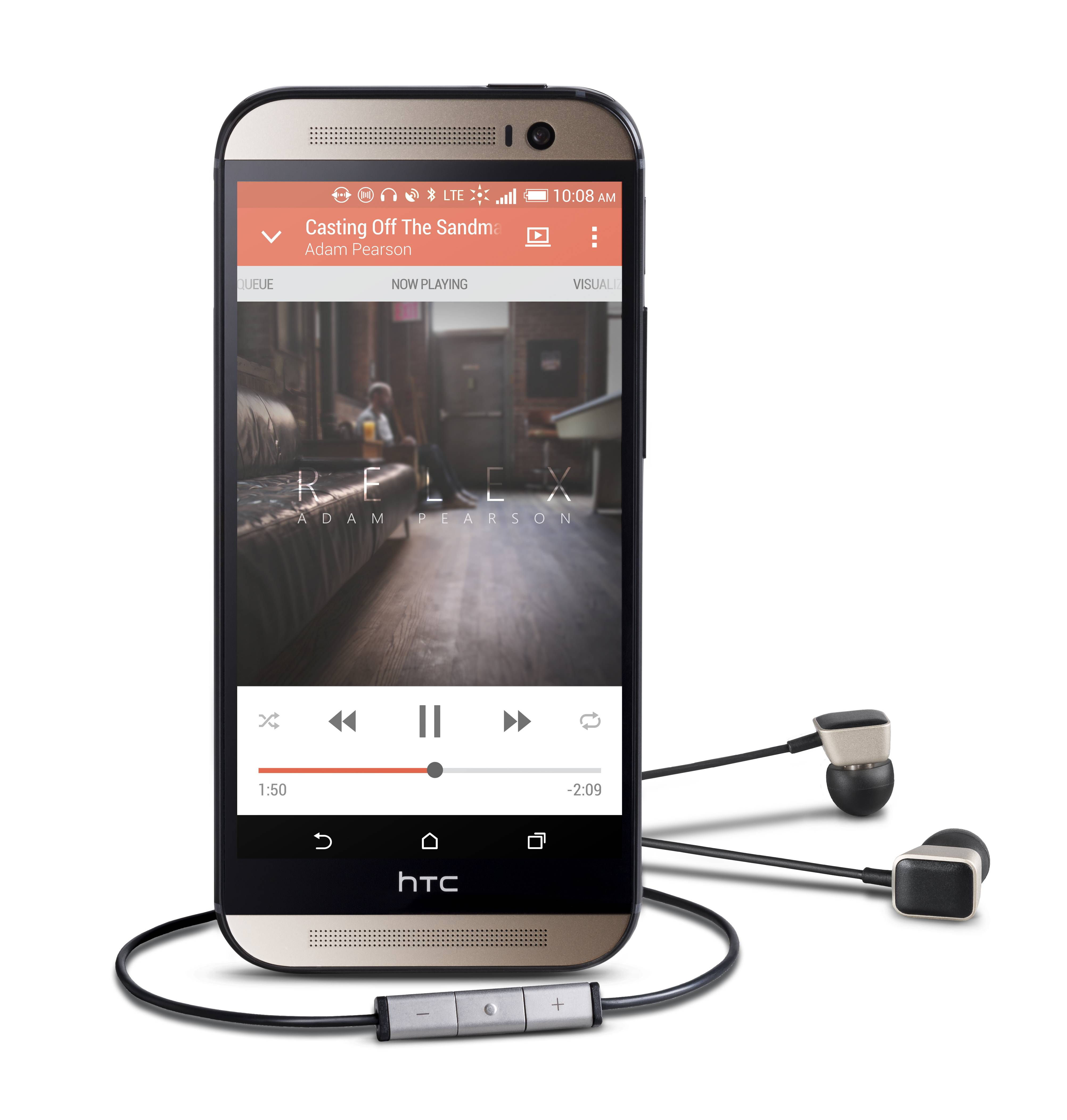 This product image provided by Harmon Kardon shows the HTC One M8 smartphone and AE-S Premium headphones. The phone features Clari-Fi, a new technology from Harman Kardon, which aims to restore some of the audio signal that is lost because of digital compression in today's download and streaming formats.