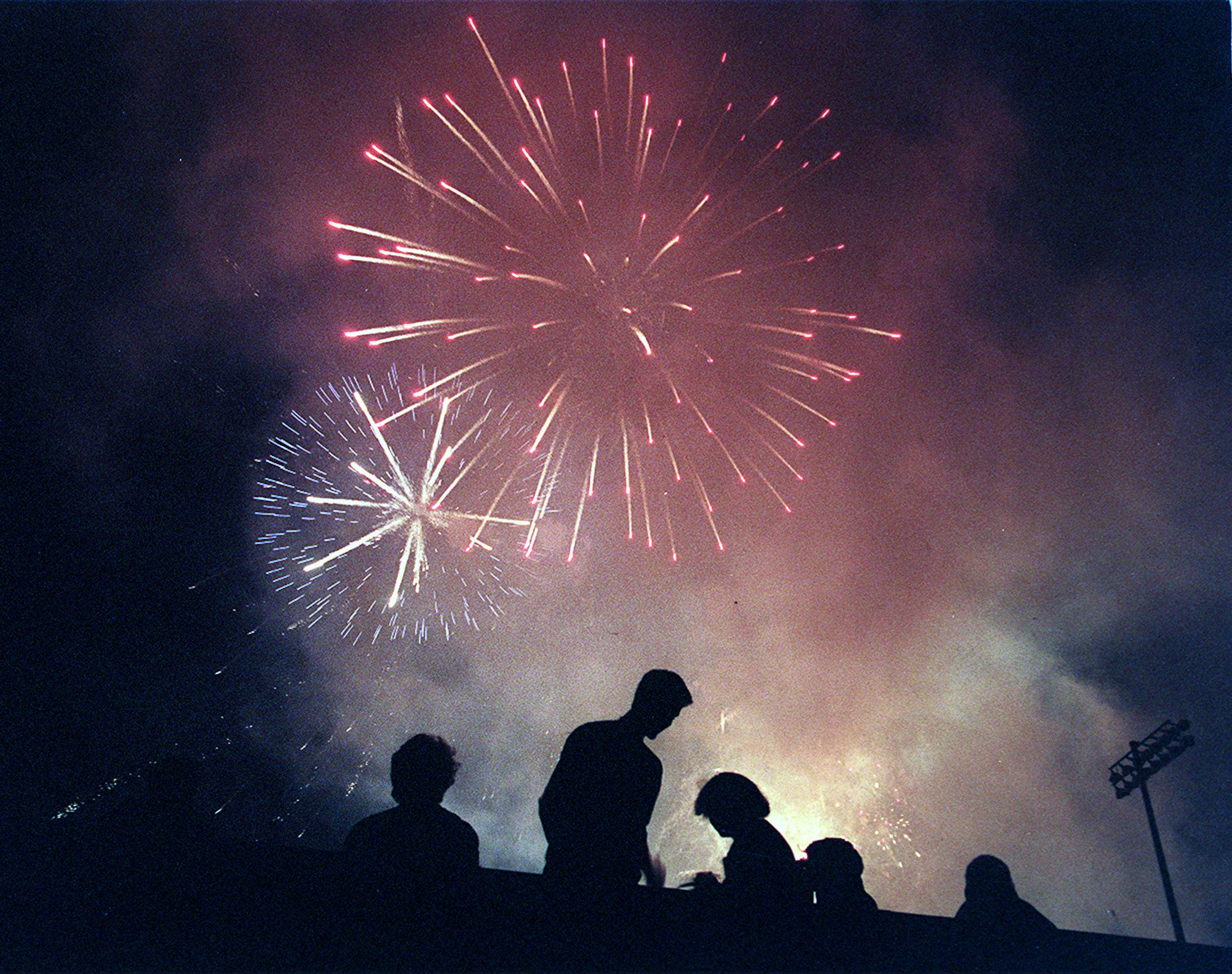 Today is a day to celebrate our nation's independence, as these suburban residents did by watching Fourth of July fireworks in Libertyville.