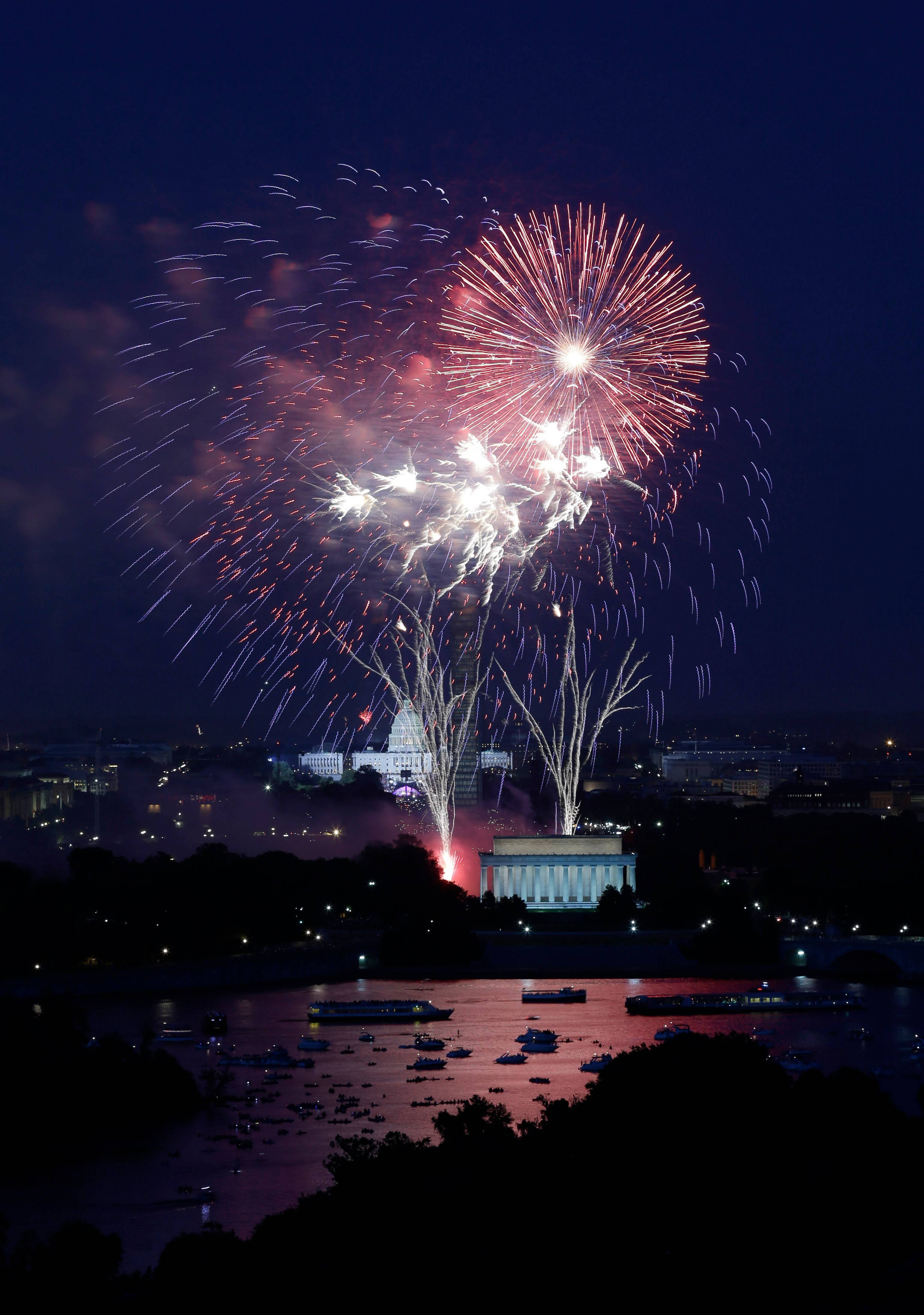 "Fireworks will once again light the sky over the U.S. Capitol, left, the Washington Monument and the Lincoln Memorial this Friday. You can see ""A Capitol Fourth"" beginning at 7 p.m. on WTTW Channel 11."