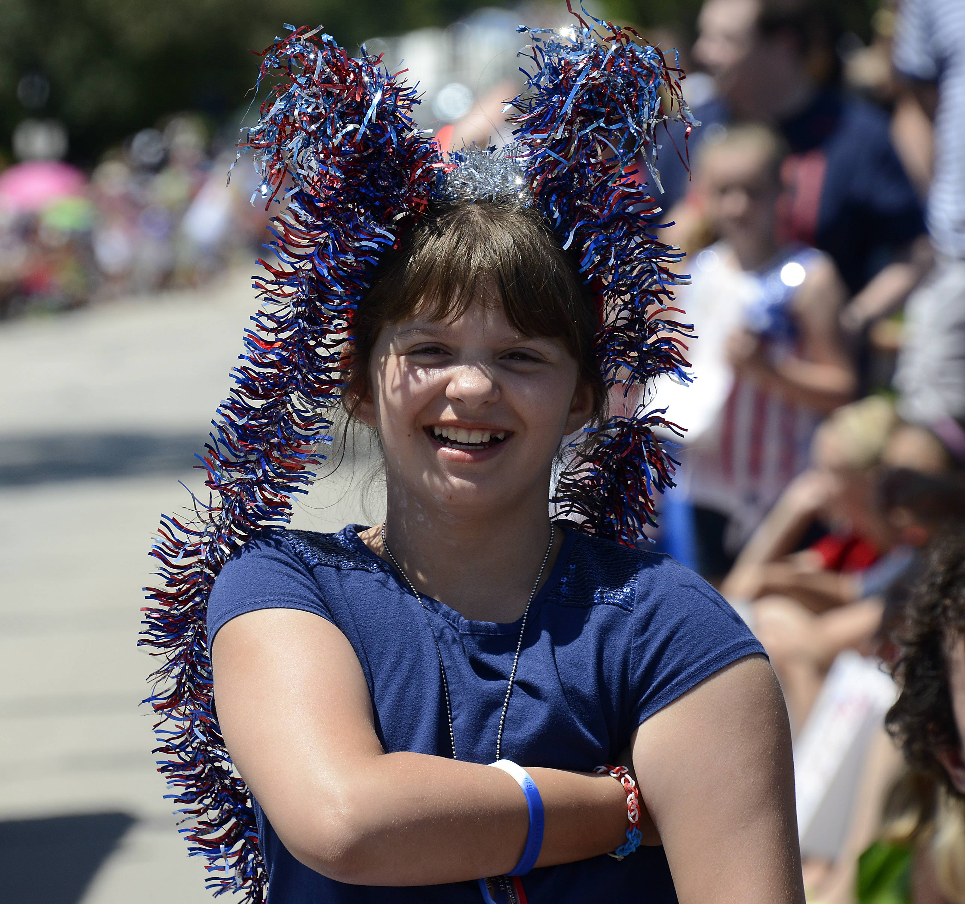 Abbie Landa of Glenview  donned a patriotic costume for the Mount Prospect parade.