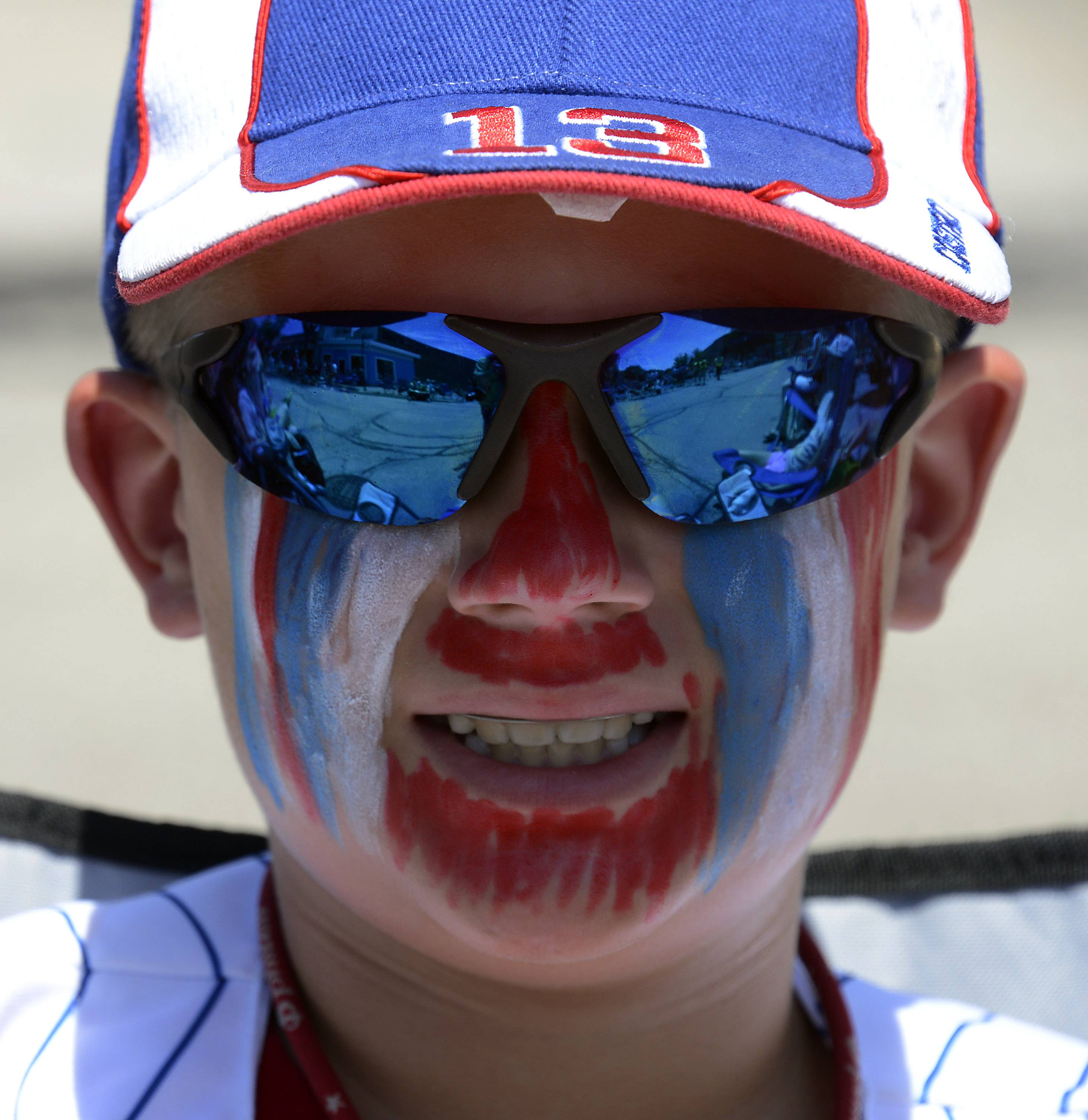 Peter Anast, 11, of Mount Prospect had his face painted for the Mount Prospect parade.