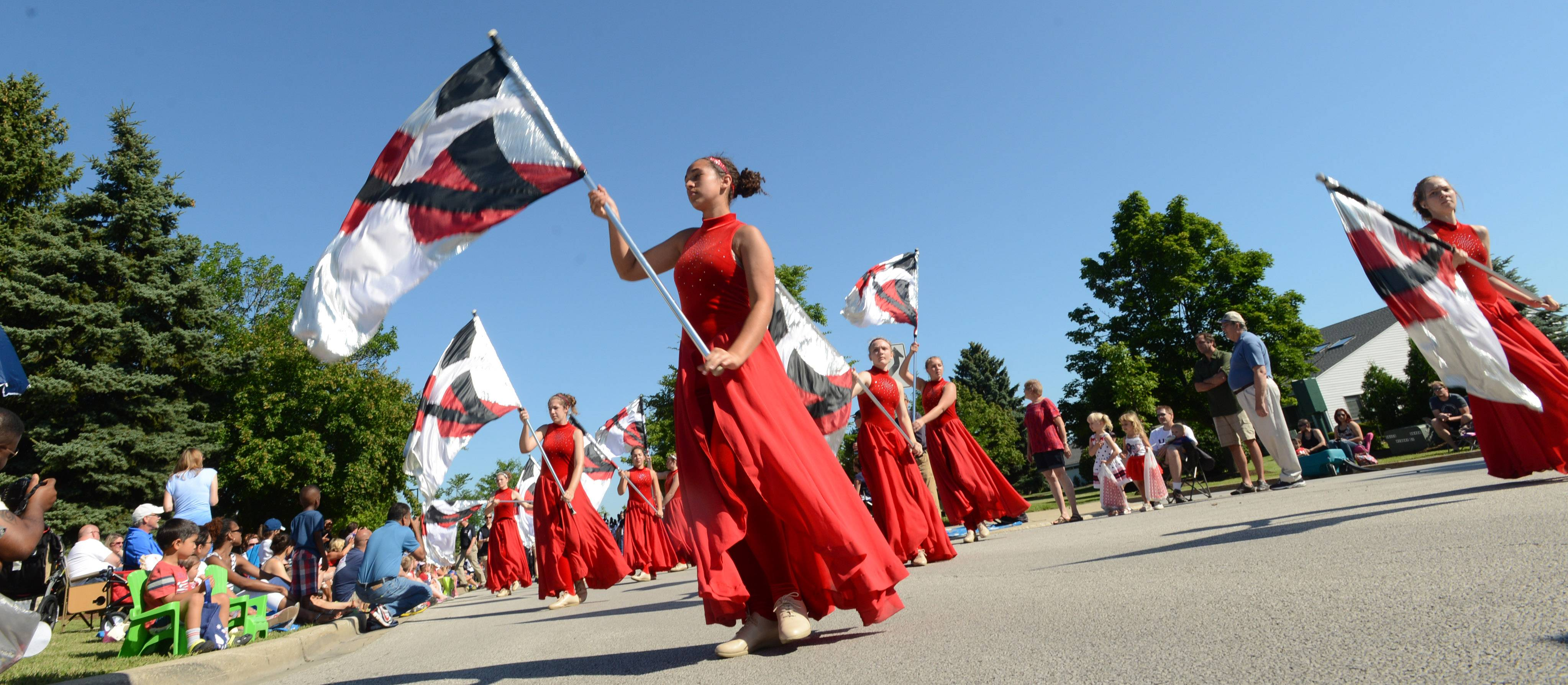 The Band of the Black Watch from Kenosha, Wis. march in Friday's Fourth of July parade in Vernon Hills.