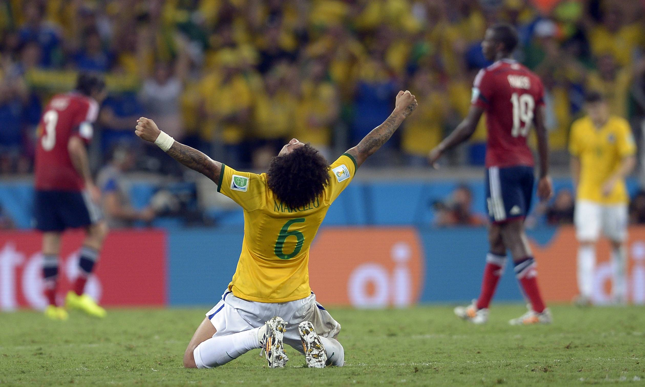 Brazil's Marcelo celebrates at the end of the World Cup quarterfinal soccer match between Brazil and Colombia at the Arena Castelao in Fortaleza, Brazil, Friday, July 4, 2014. Brazil won the match 2-1.