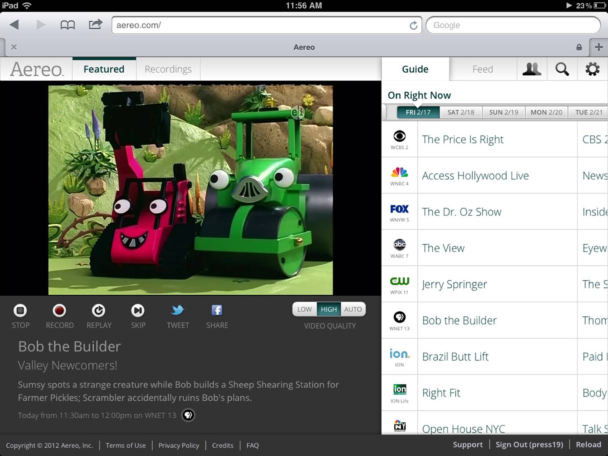 This file image provided by Aereo shows a streaming broadcast of Bob the Builder on the New York PBS station, WNET 13. Just because Aereo's business model has been shot down by the Supreme Court, that doesn't mean customers' desire for a better TV experience has gone away.